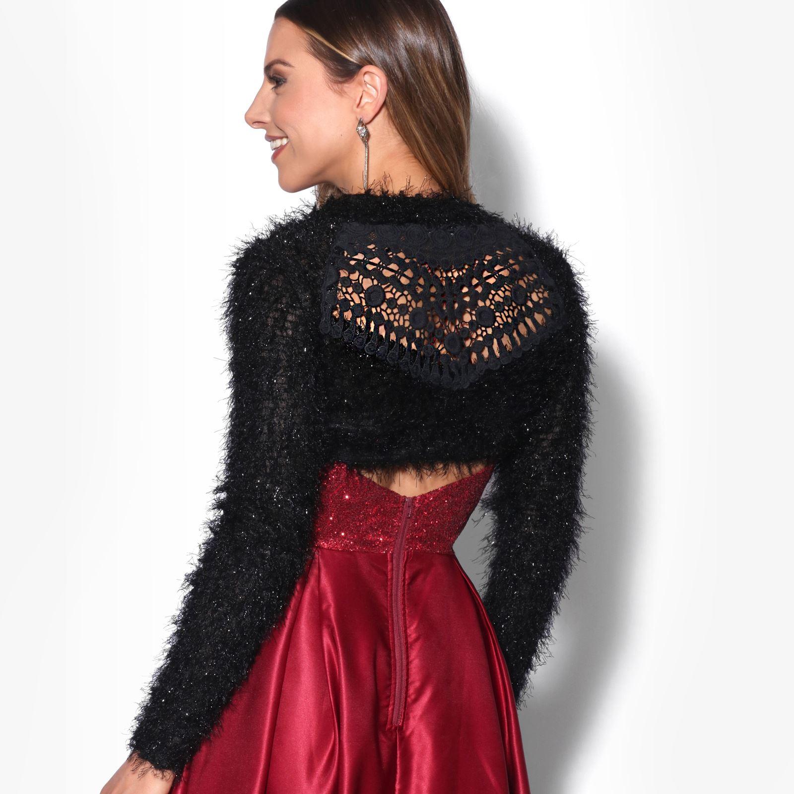 KRISP-Damen-Bolero-Jacke-Kurzes-Jaeckchen-Elegante-Schulterjacke-Blazer-Frauen Indexbild 9