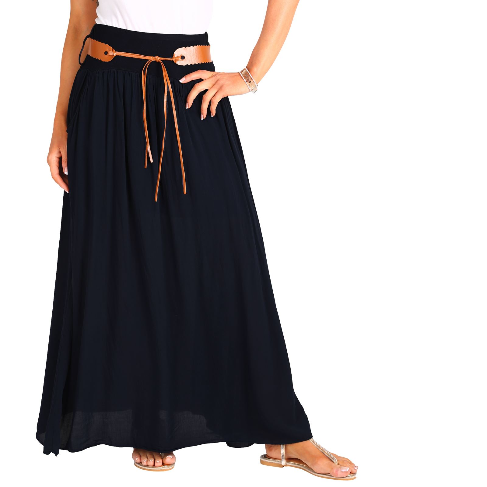 Womens-Ladies-Maxi-Skirt-Pleated-Boho-Hippie-Long-Tie-Belted-Light-Cotton-Summer thumbnail 3