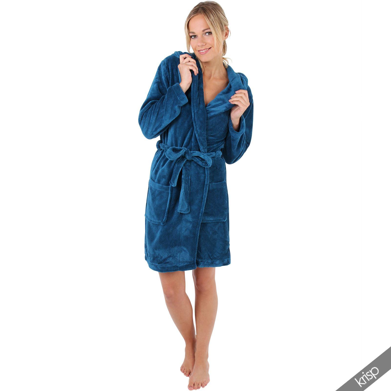 damen bademantel mit kapuze hausmantel morgenmantel fleece. Black Bedroom Furniture Sets. Home Design Ideas