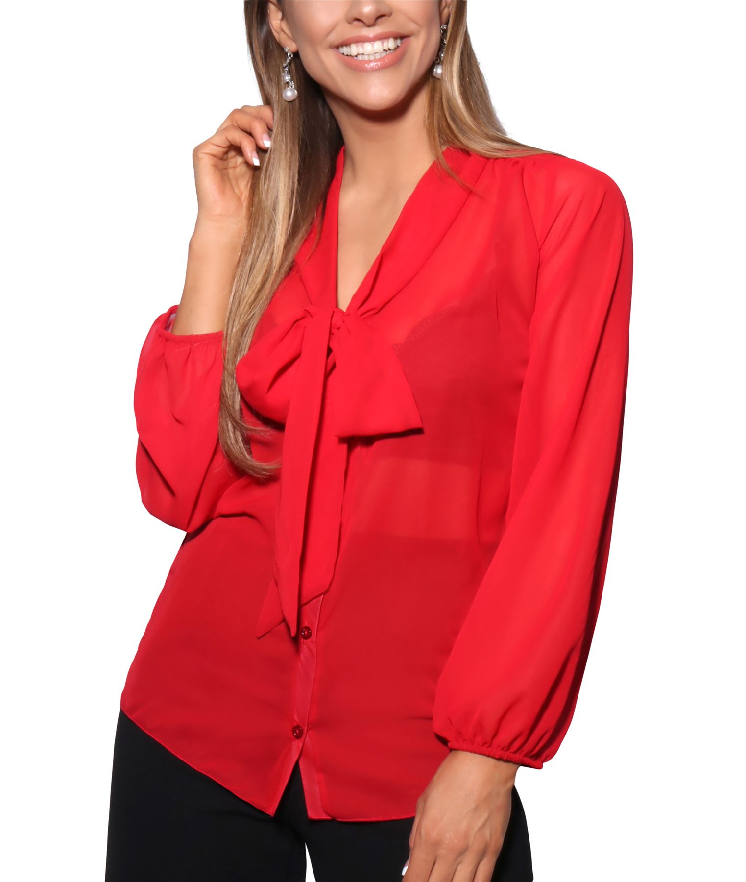 Womens-Ladies-Chiffon-Blouse-Long-Sleeve-Pussy-Bow-Top-Plain-Shirt-Office-Party thumbnail 13
