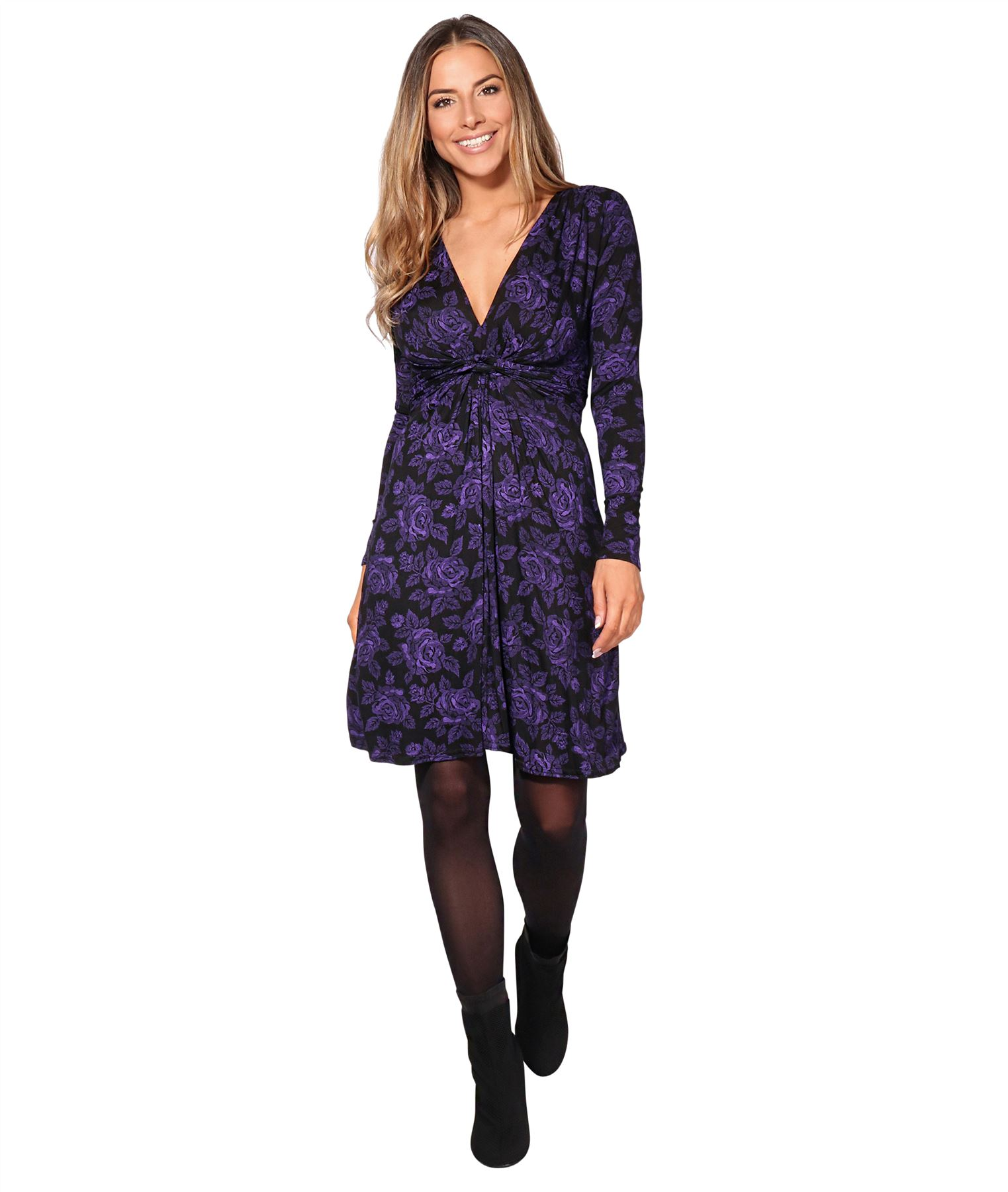 Womens-Ladies-Mini-Dress-Drape-Stretch-Long-Sleeve-Ruched-Twist-Knot-Party-Work thumbnail 60