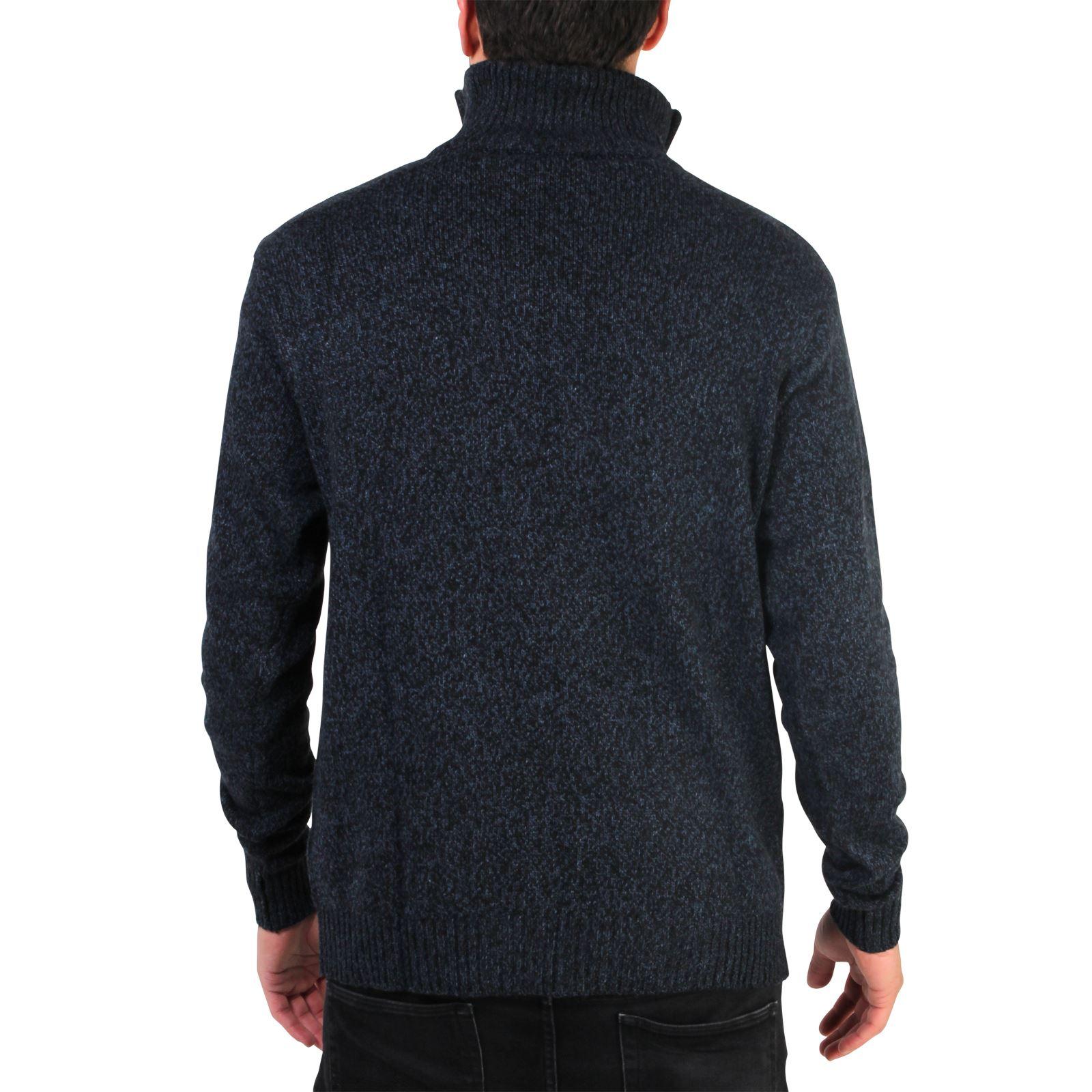 Mens-Soft-Wool-Knit-Half-Zip-Funnel-Neck-Jumper-Sweater-Top-Grandad-Pullover-Top thumbnail 9