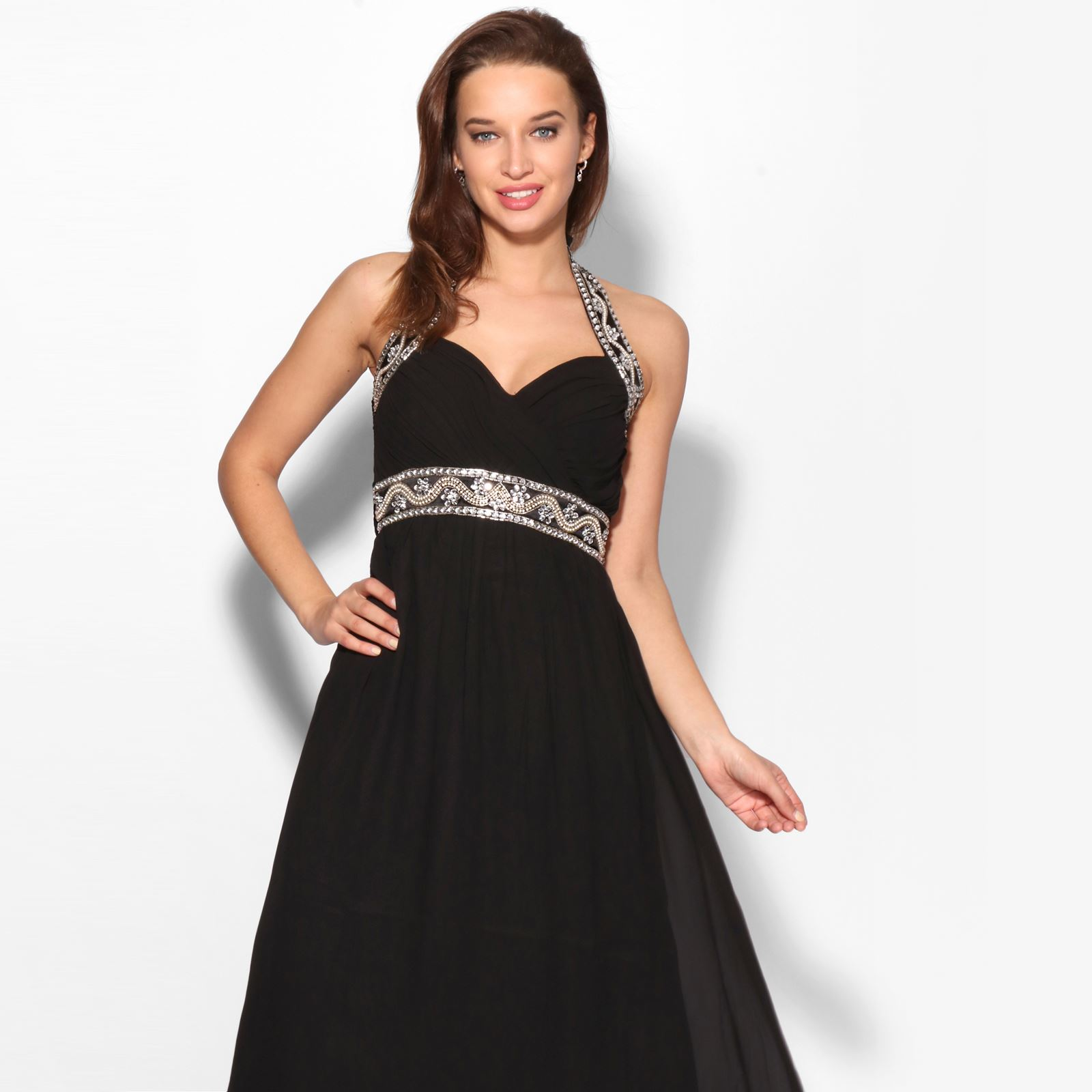 Women-Formal-Diamante-Wedding-Cocktail-Dress-Long-Ball-Gown-Prom-Maxi-Party-8-18 thumbnail 4