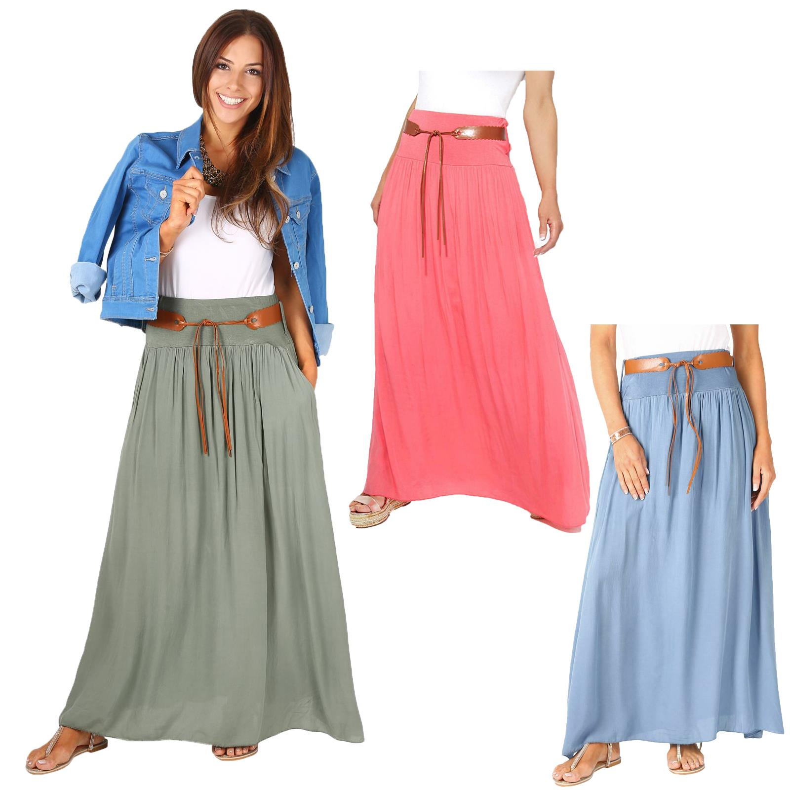 Womens Ladies Maxi Skirt Pleated Boho Hippie Long Tie Belted Light ...