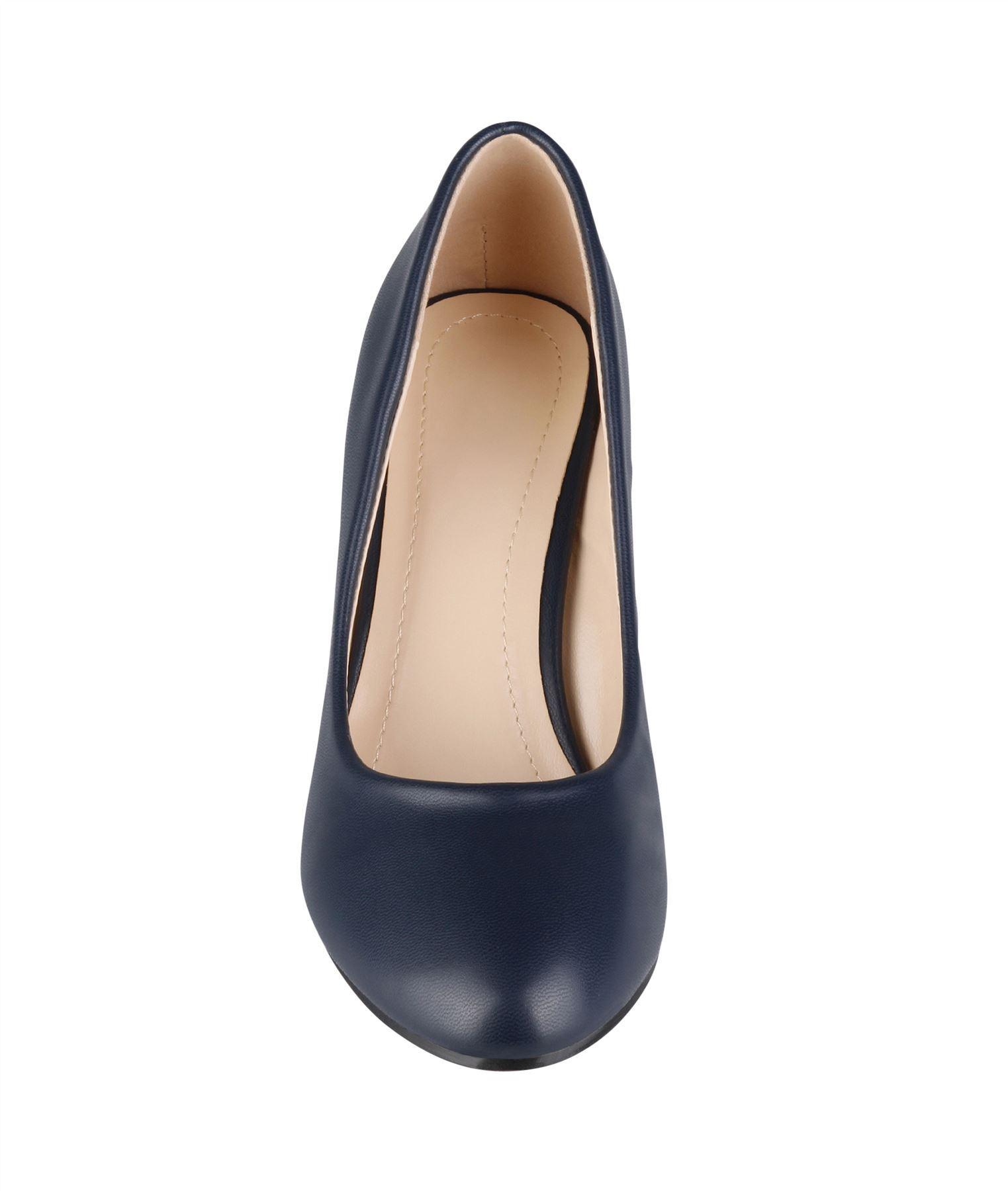 Womens-Ladies-Mid-Heel-Court-Shoes-Slip-On-Low-Kitten-Heels-Pumps-Matte-Size-3-8 thumbnail 14