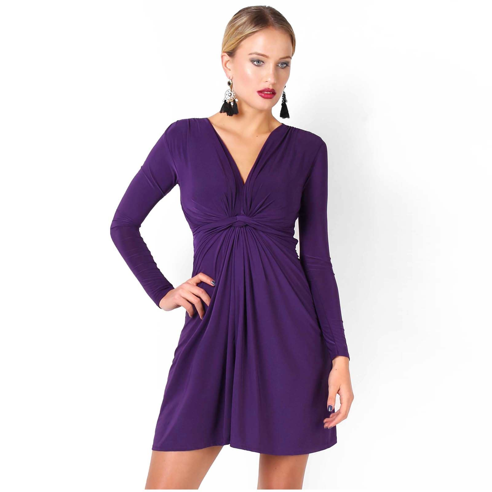 Womens-Ladies-V-Neck-Dress-Knee-Length-Mini-Ruched-Pleated-Swing-Top-Party thumbnail 84