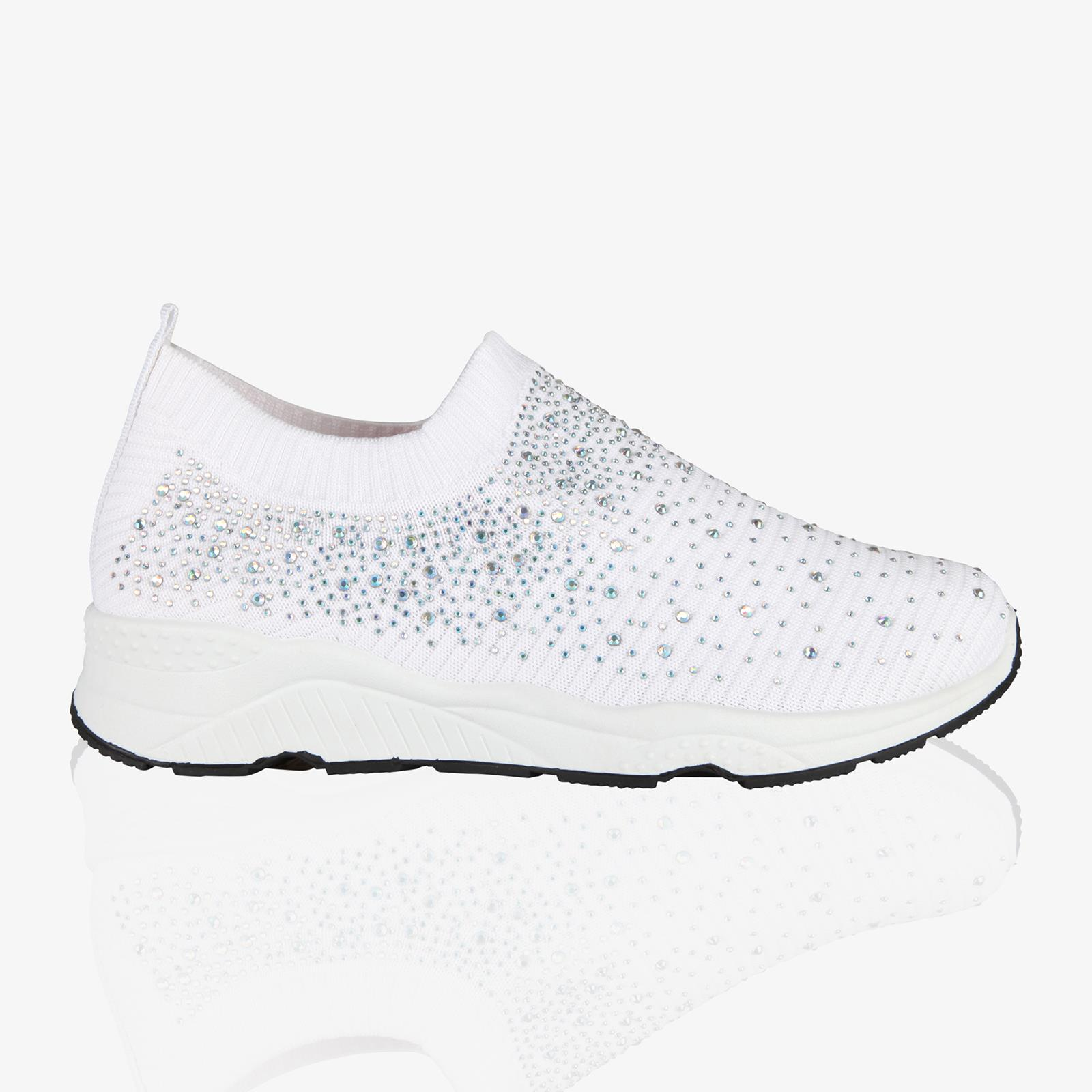 run shoes hot new products newest collection Womens Slip On Sock Trainers Sneakers Ladies Diamante Glitter ...