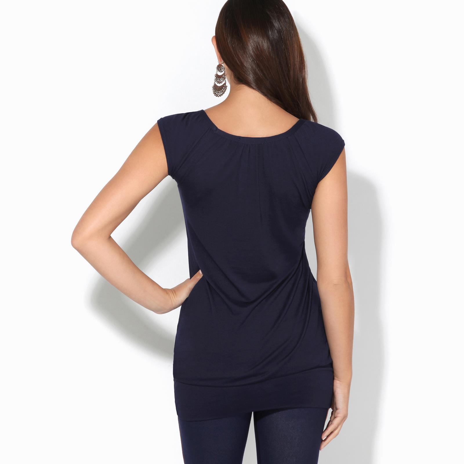 Womens-Ladies-Scoop-Neck-Blouse-V-T-Shirt-Long-Short-Sleeve-Plain-Loose-Top thumbnail 32