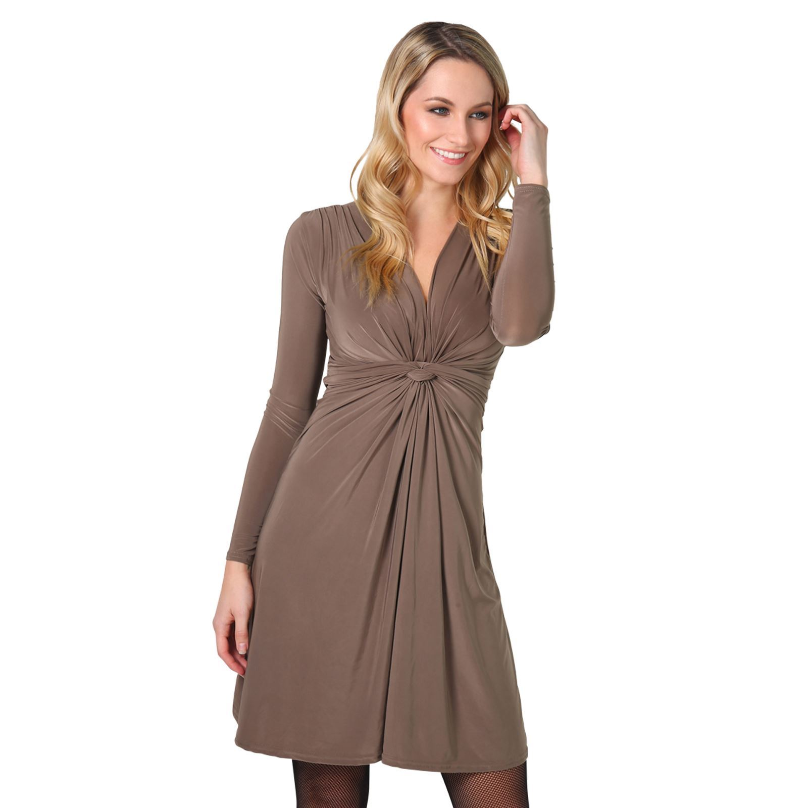 Womens-Ladies-V-Neck-Dress-Knee-Length-Mini-Ruched-Pleated-Swing-Top-Party thumbnail 59