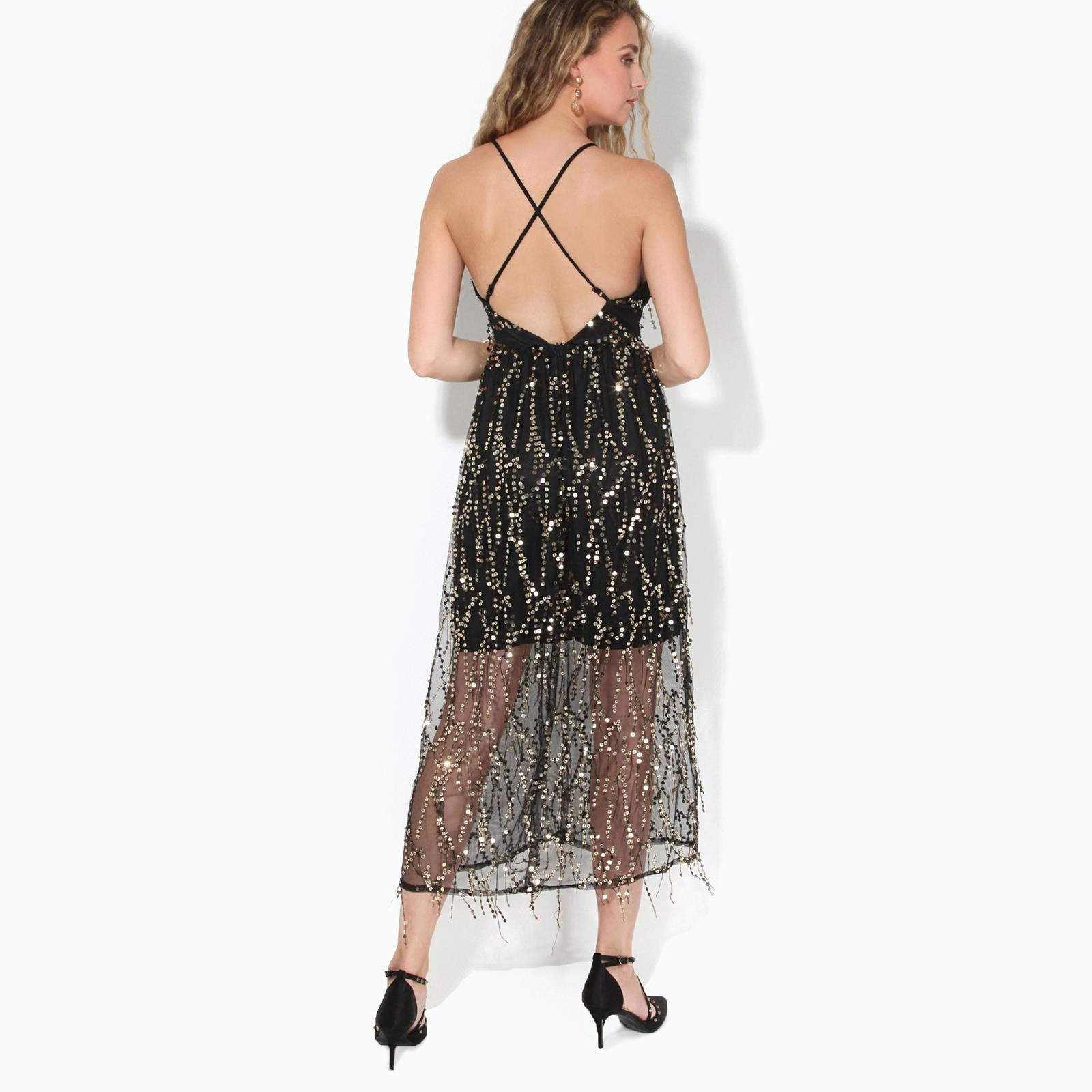 Womens-Ladies-Sequin-Dress-Midi-Party-Mesh-Fringe-Strappy-Evening-Backless thumbnail 7