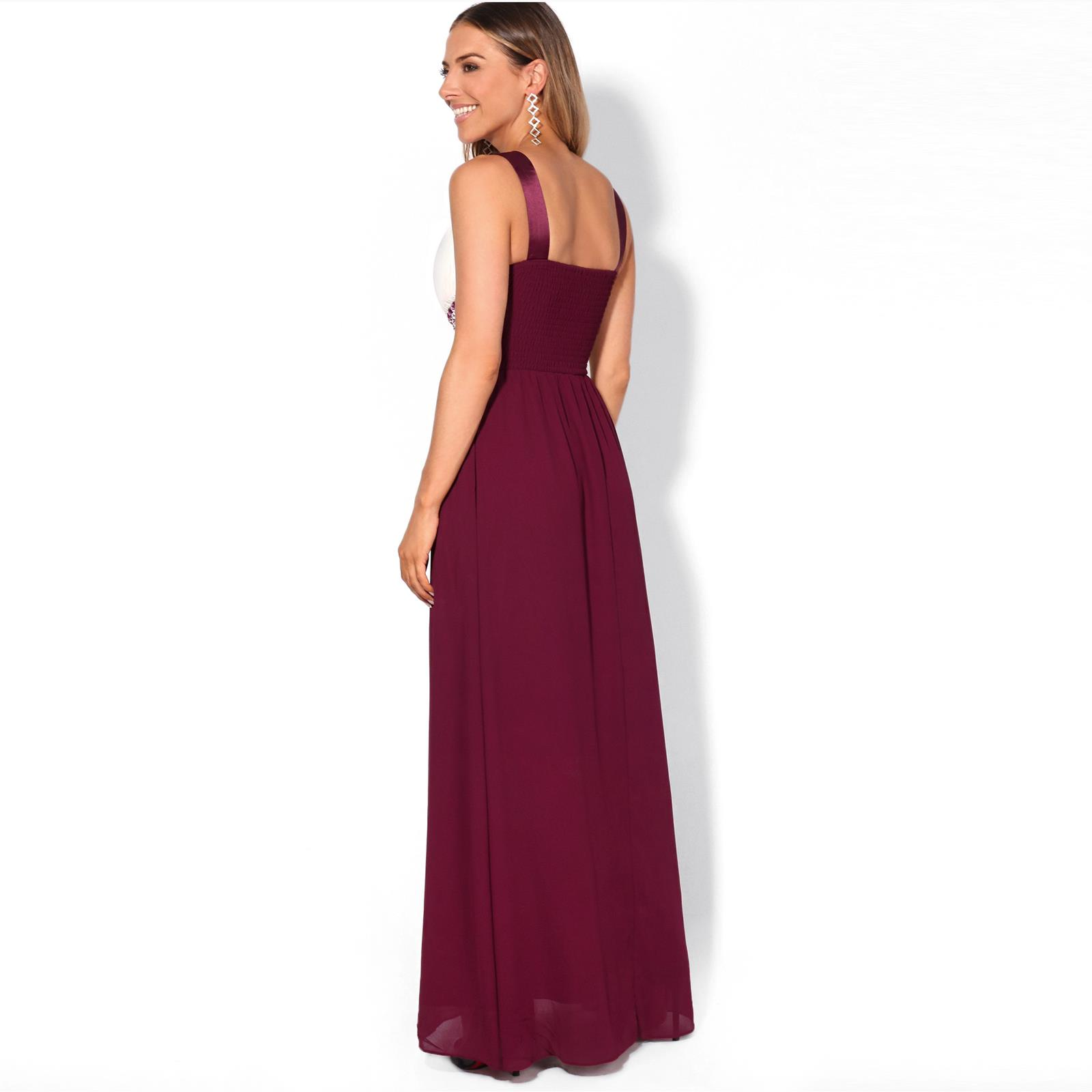 Womens Diamante Maxi Dress Fitted Long Fishtail Party Bridesmaid Wedding Prom