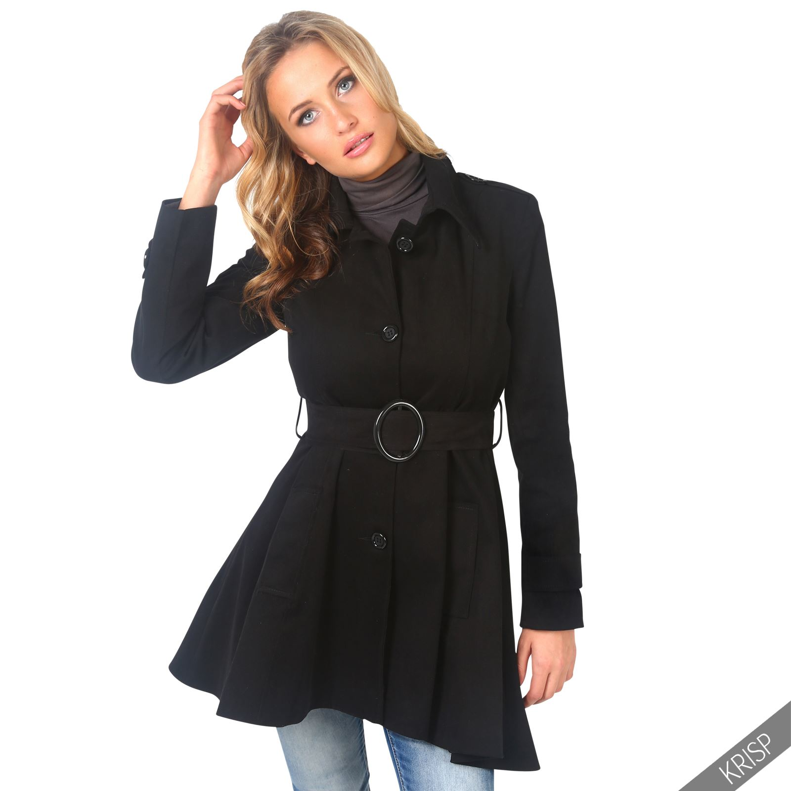 UK-Ladies-Classic-Asymmetric-Mac-Jacket-Womens-Military-Belted-Trench-Coat
