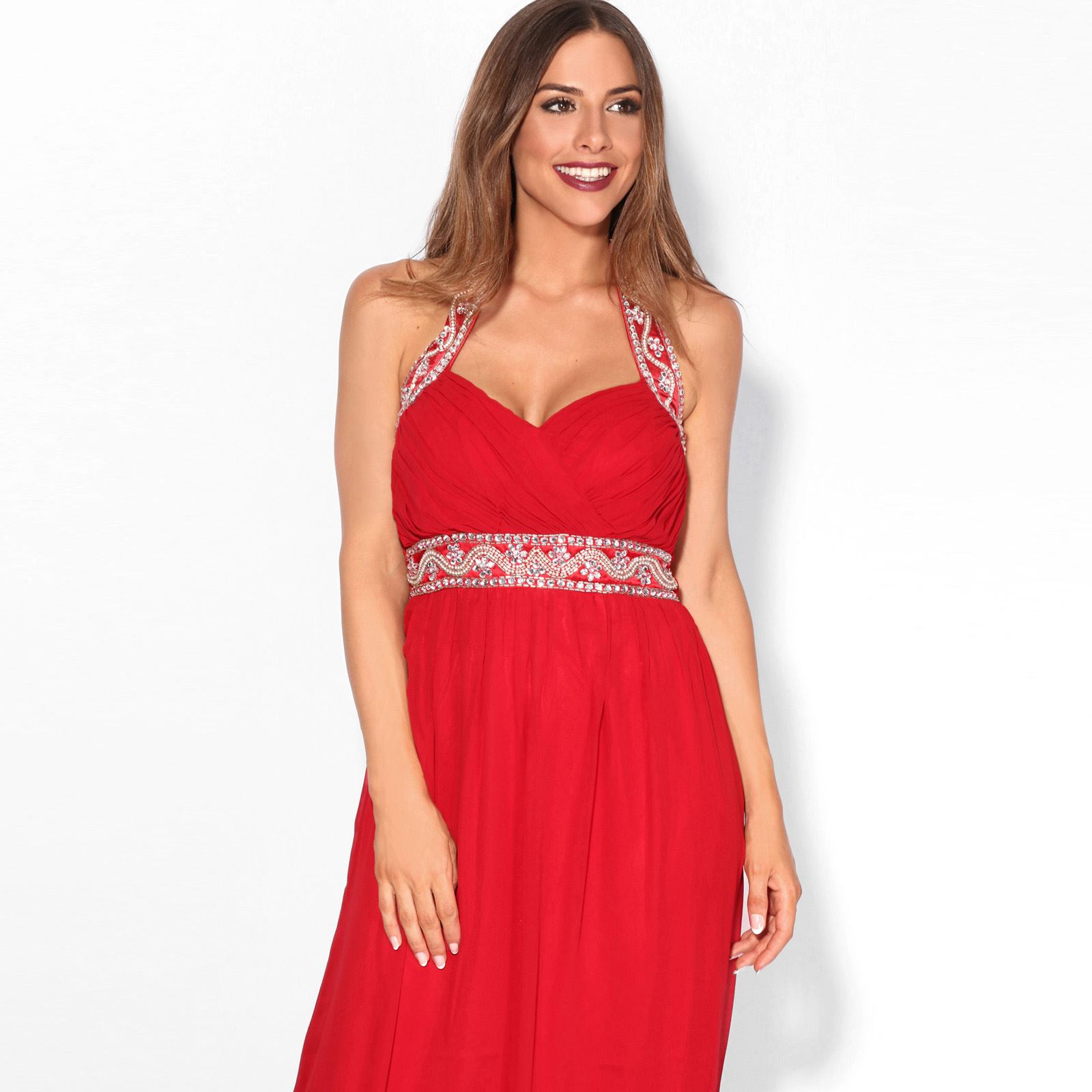 Women-Formal-Diamante-Wedding-Cocktail-Dress-Long-Ball-Gown-Prom-Maxi-Party-8-18 thumbnail 22