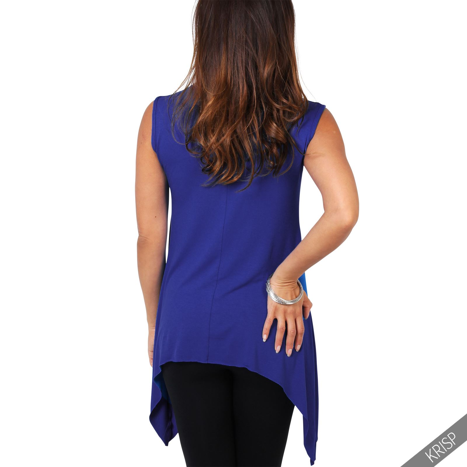 Women-Long-Top-Sleeveless-Pleated-Tee-Shirt-Tunic-Jersey-Stretch-Loose-Fit thumbnail 27