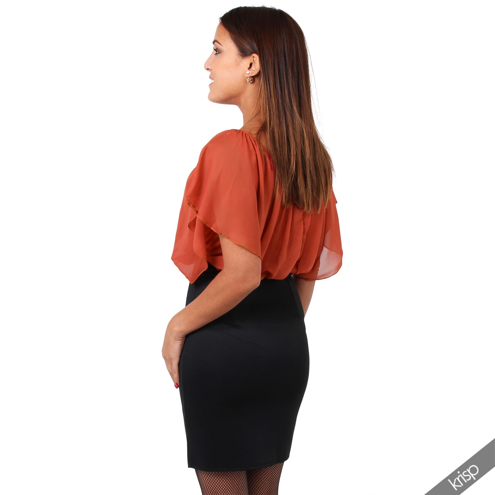 Womens-Pleated-Chiffon-Batwing-Top-High-Waist-Pencil-Bodycon-Skirt-Mini-Dress thumbnail 31