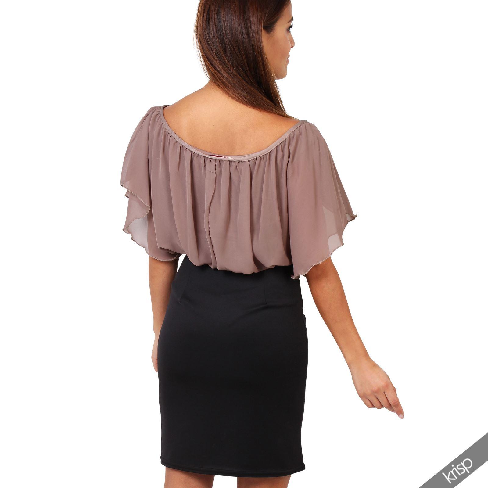 Womens-Pleated-Chiffon-Batwing-Top-High-Waist-Pencil-Bodycon-Skirt-Mini-Dress thumbnail 18