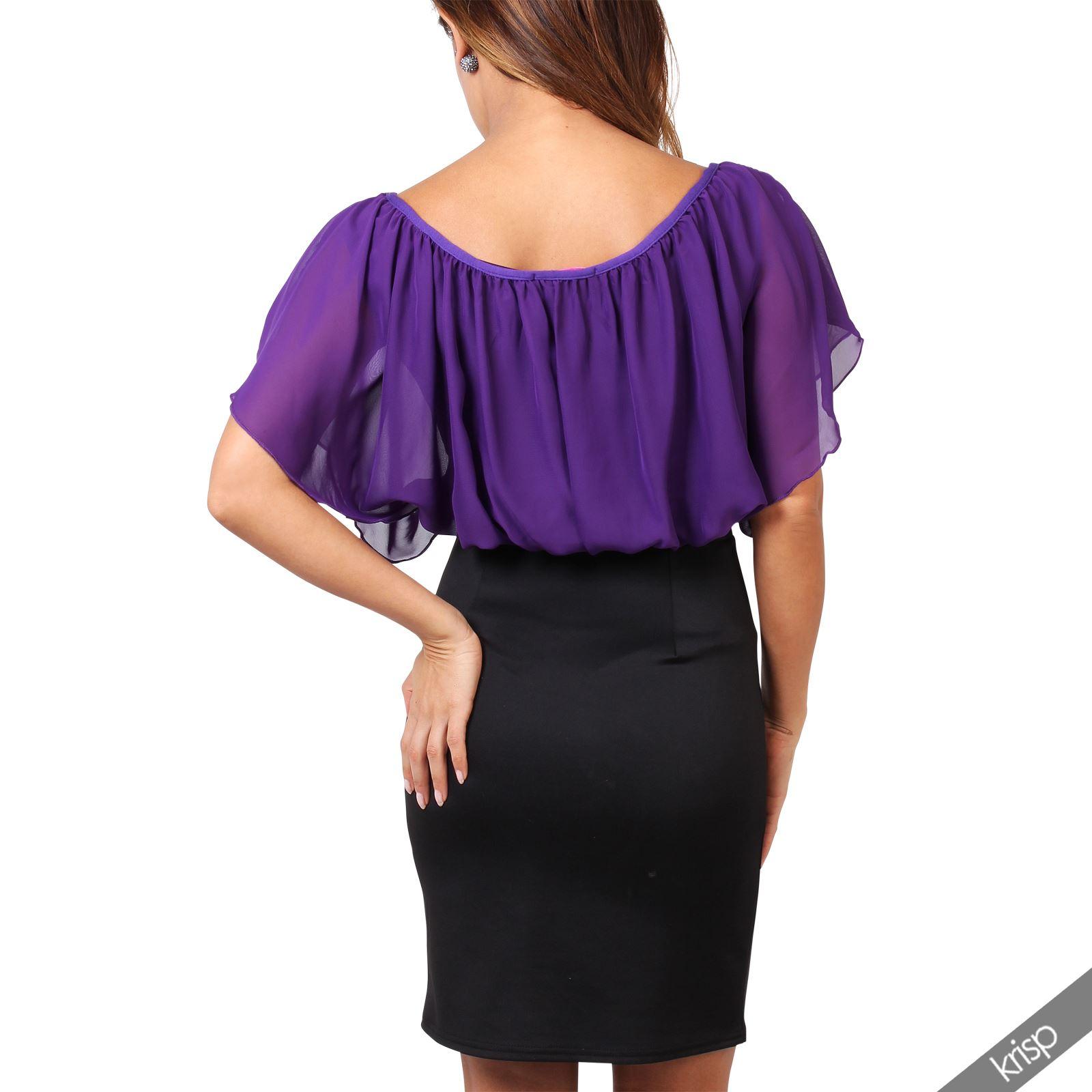 Womens-Pleated-Chiffon-Batwing-Top-High-Waist-Pencil-Bodycon-Skirt-Mini-Dress thumbnail 21