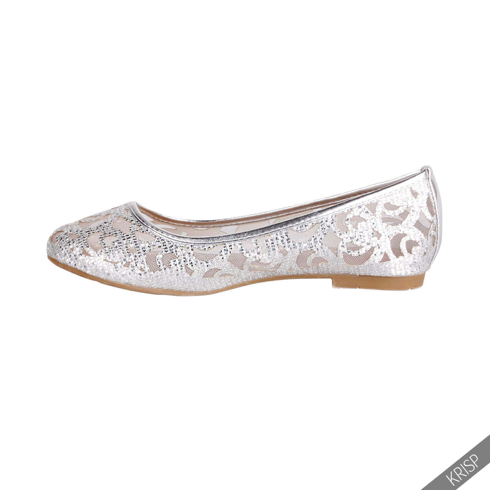 Women Glitter Ballerina Shoes Slip On Ballet Dolly Pumps Ladies Flats Flat Heels | EBay