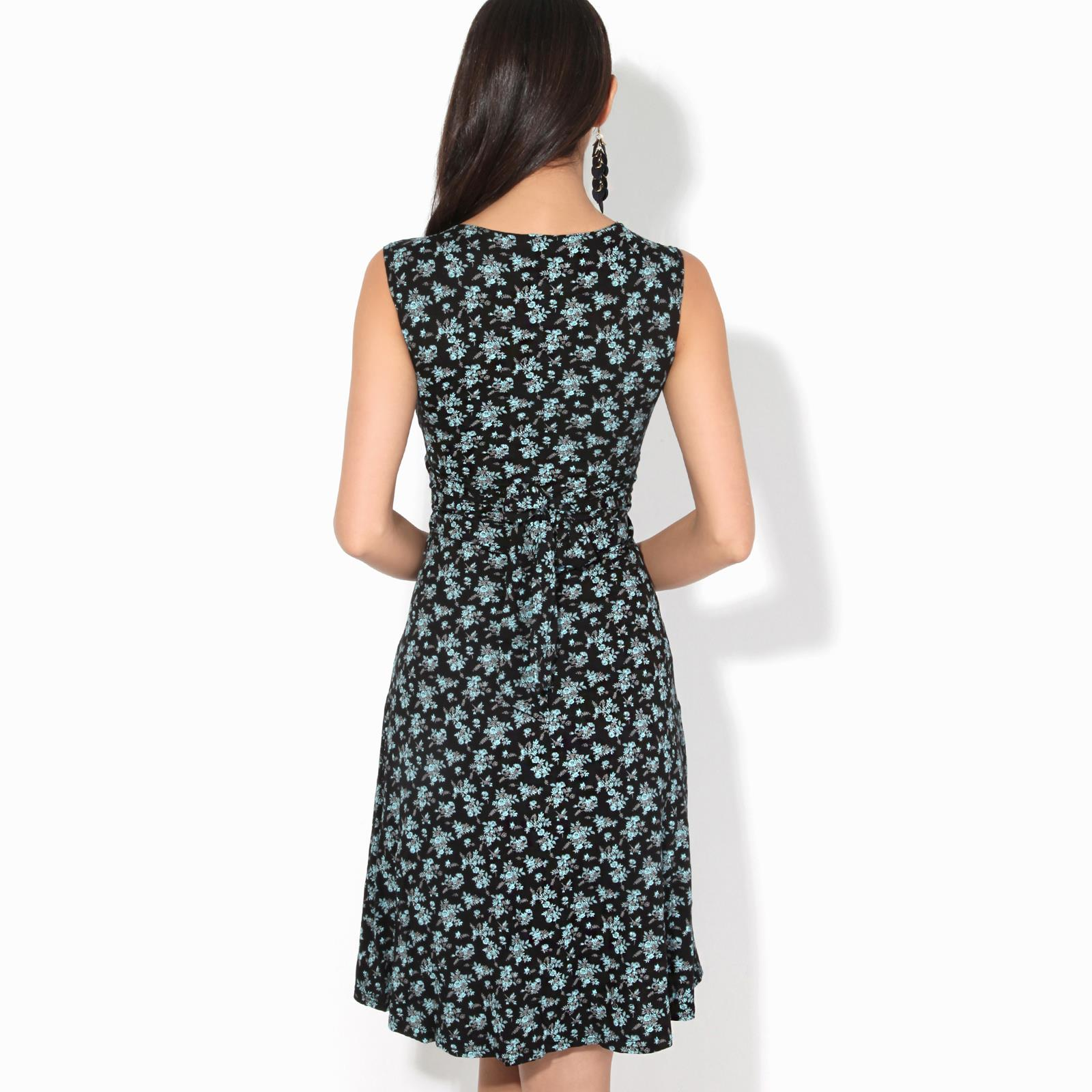 Women-Ladies-Floral-Midi-Dress-Pattern-Sleeveless-V-Neck-Stretch-Casual-Sundress thumbnail 4