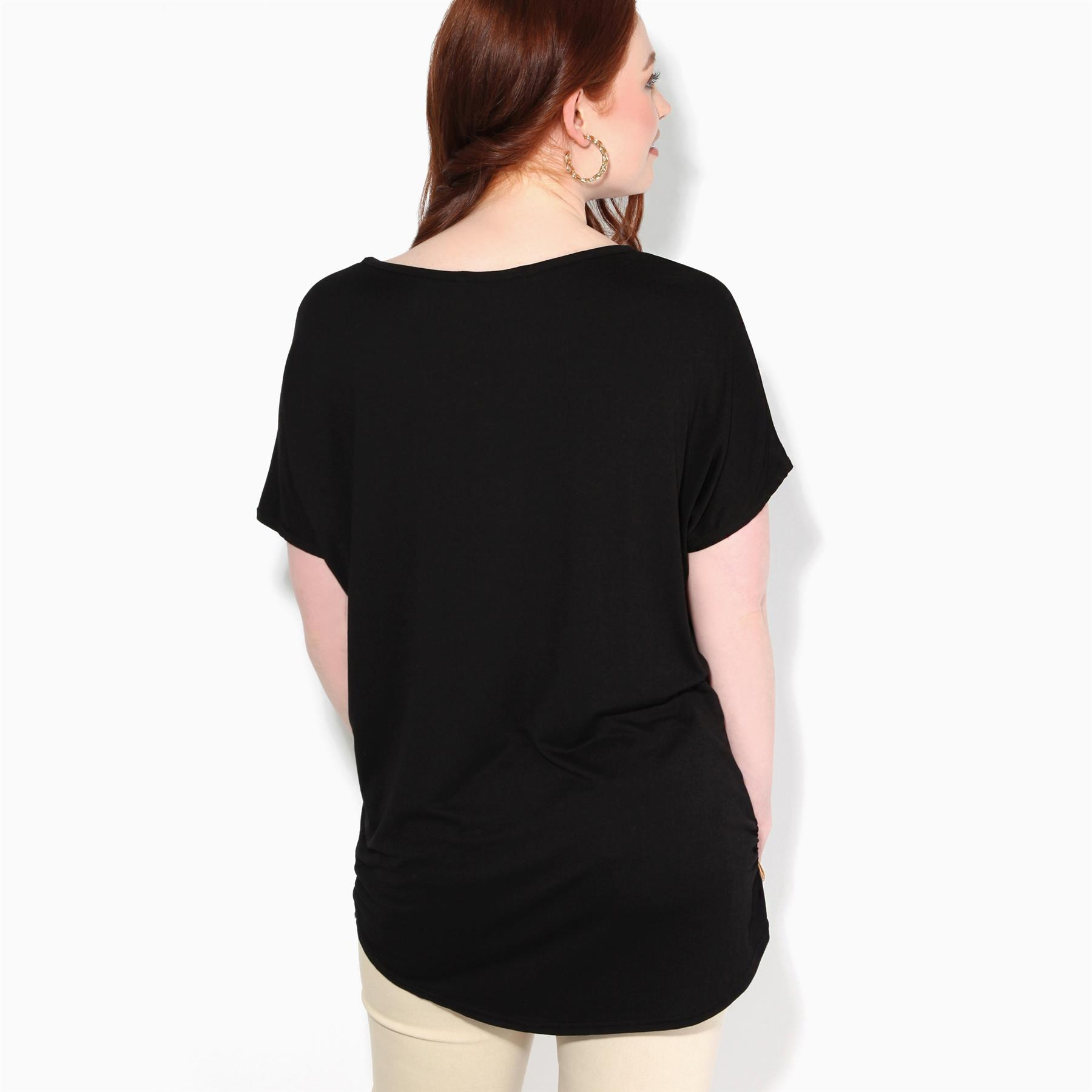 Womens-Loose-Batwing-T-Shirt-Ladies-Animal-Tunic-Blouse-Oversized-Long-Line-Top thumbnail 3