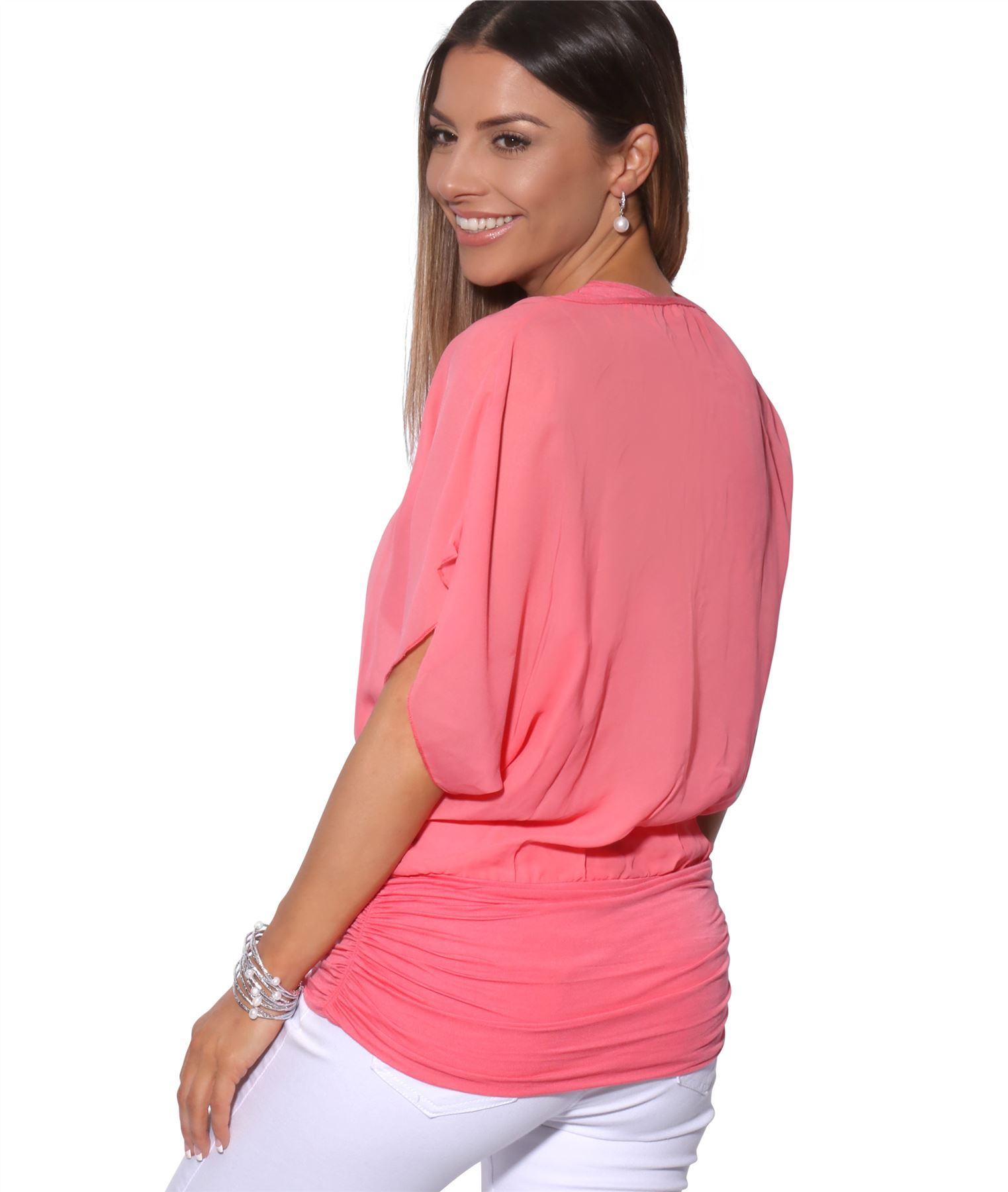 Womens-Scoop-Neck-Blouse-Baggy-Batwing-T-Shirt-Top-Ladies-Oversized-Chiffon-2in1 thumbnail 10