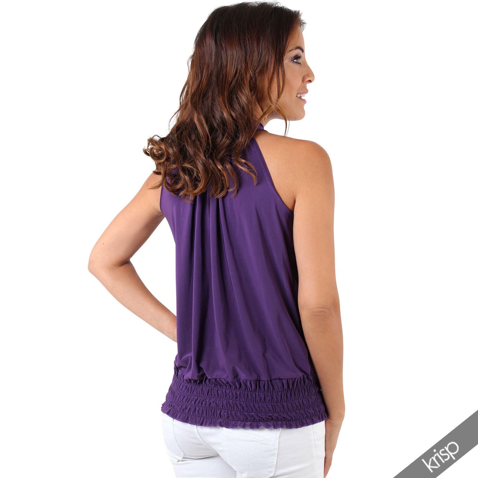 81866d562fd17d Women Ladies Halter Neck Tie Elastic Hem Plus Size Sexy Party Top ...