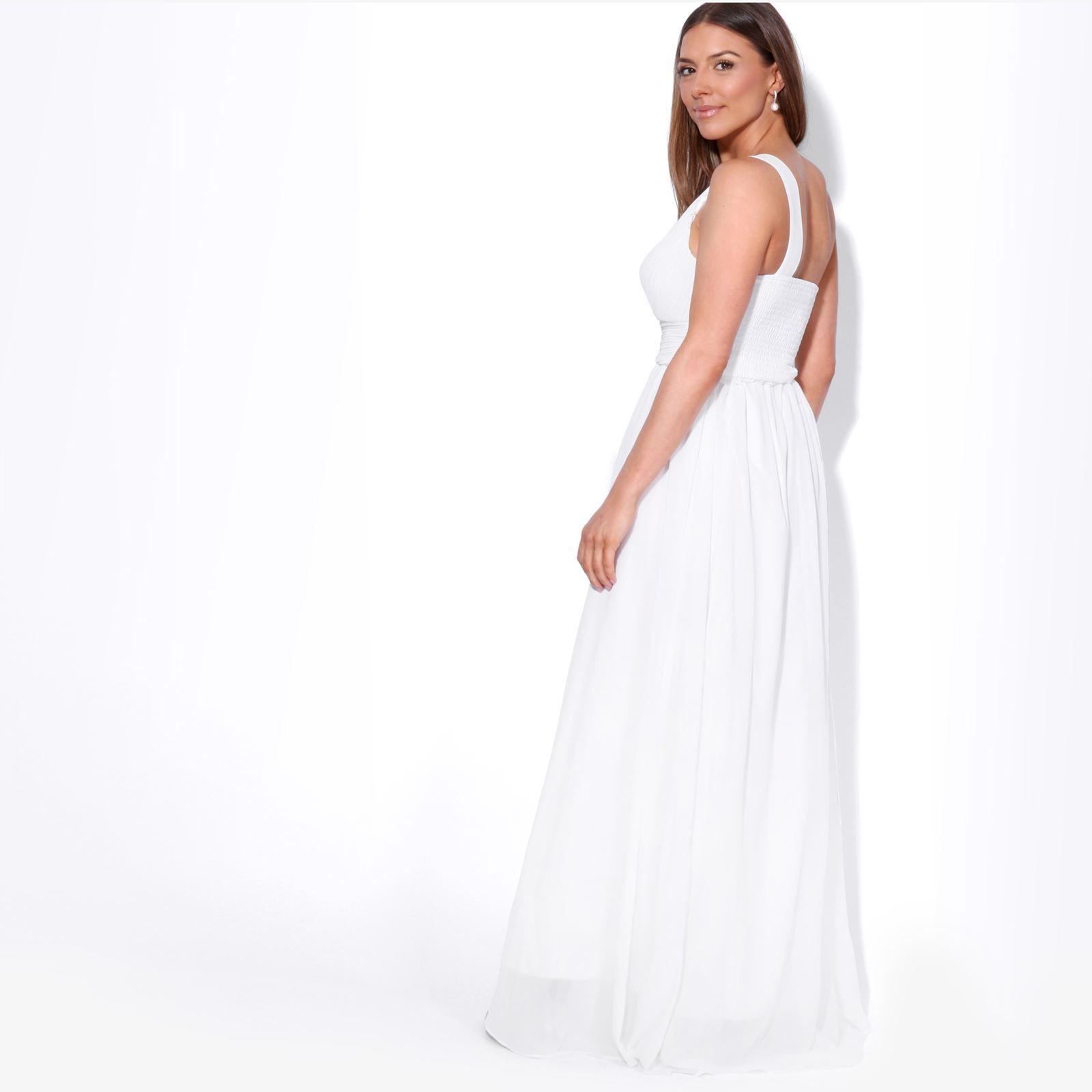 Womens-Wedding-Bridesmaid-Prom-Dress-Formal-One-Off-Shoulder-Long-Evening-8-18 thumbnail 79