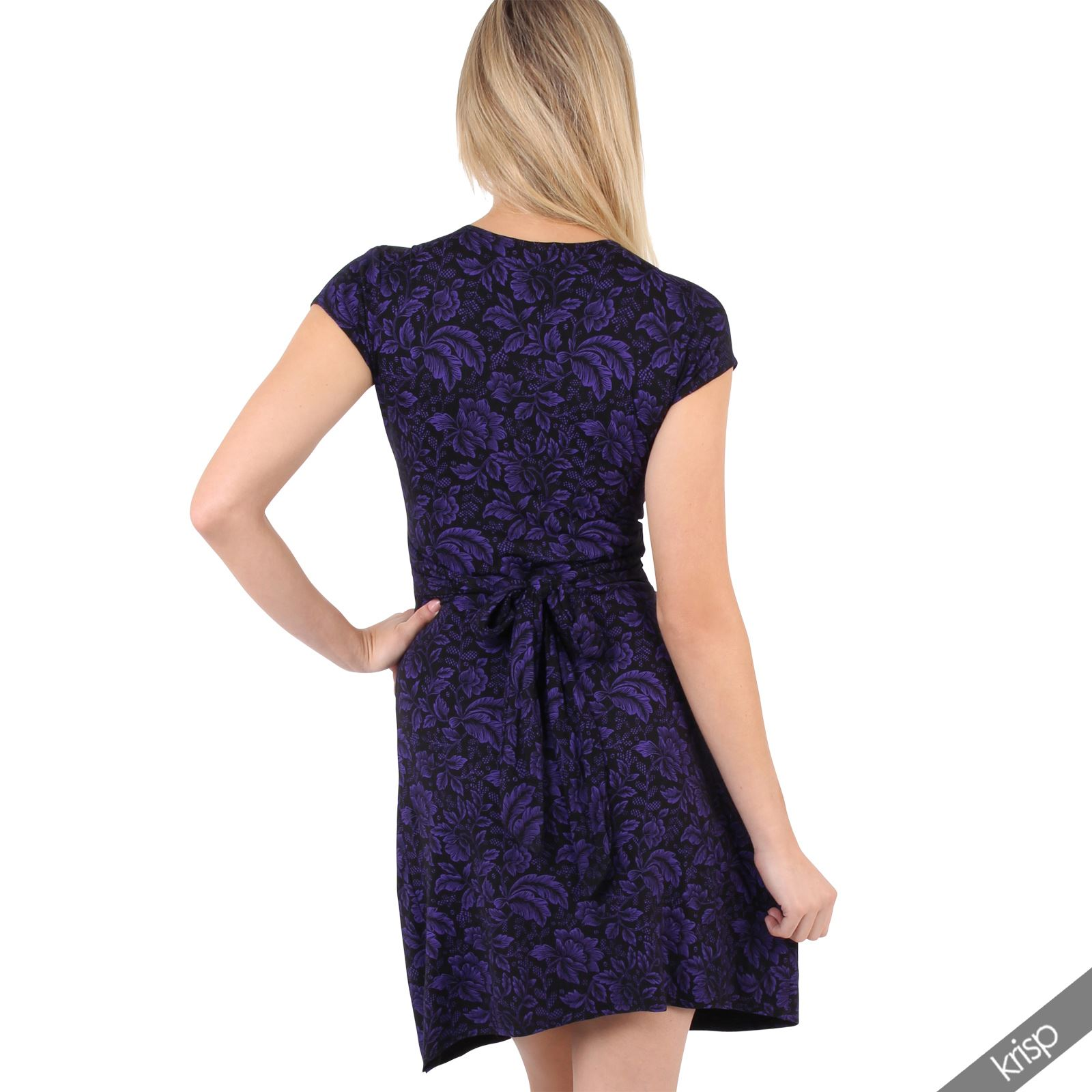 Womens-Ladies-V-Neck-Mini-Midi-Dress-Floral-Print-Knot-Short-Skirt-Party-Casual thumbnail 14