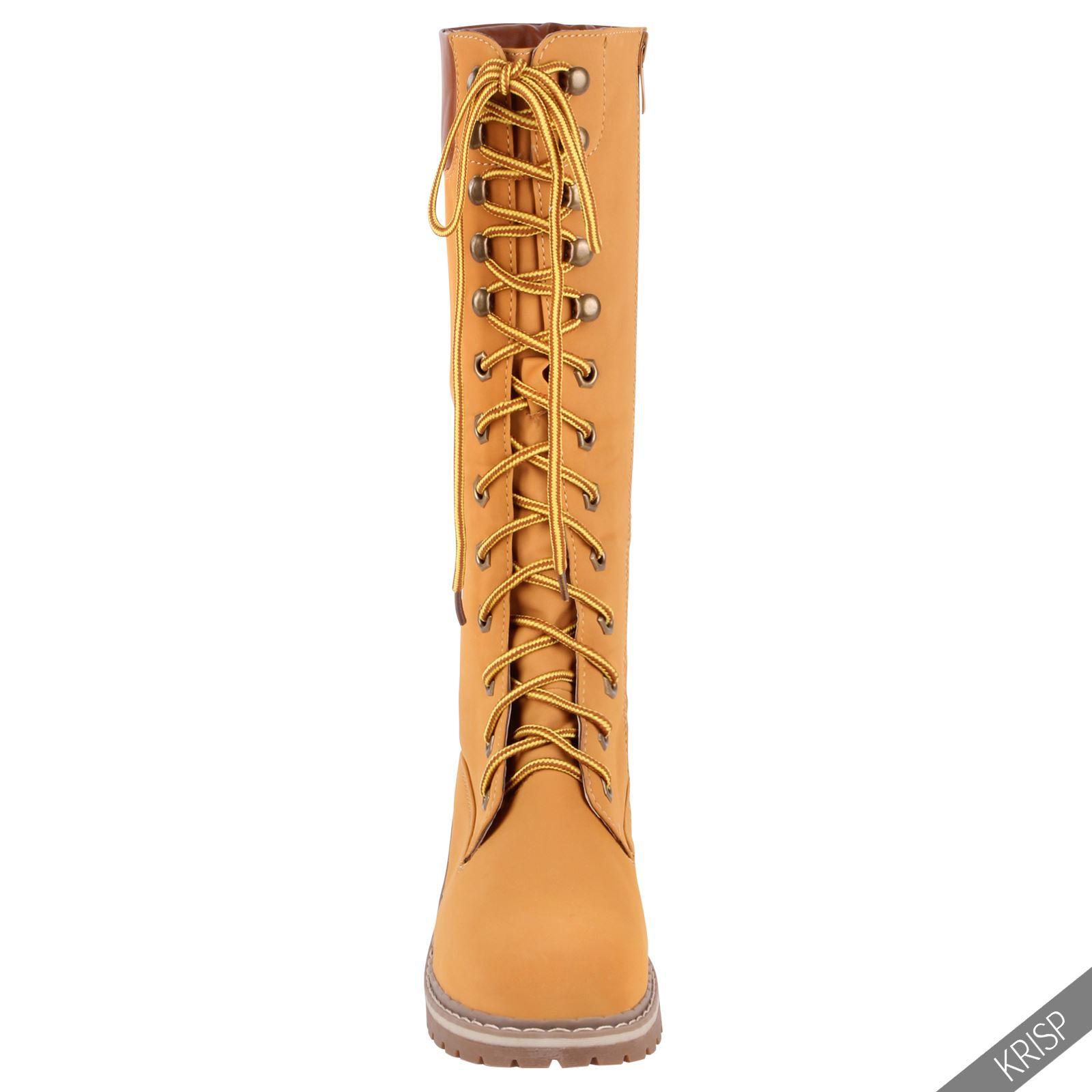 Botines-Mujer-Camel-Bota-Plana-Suela-Goma-Cordones-Casual-Otono-Invierno-Tacon miniatura 17
