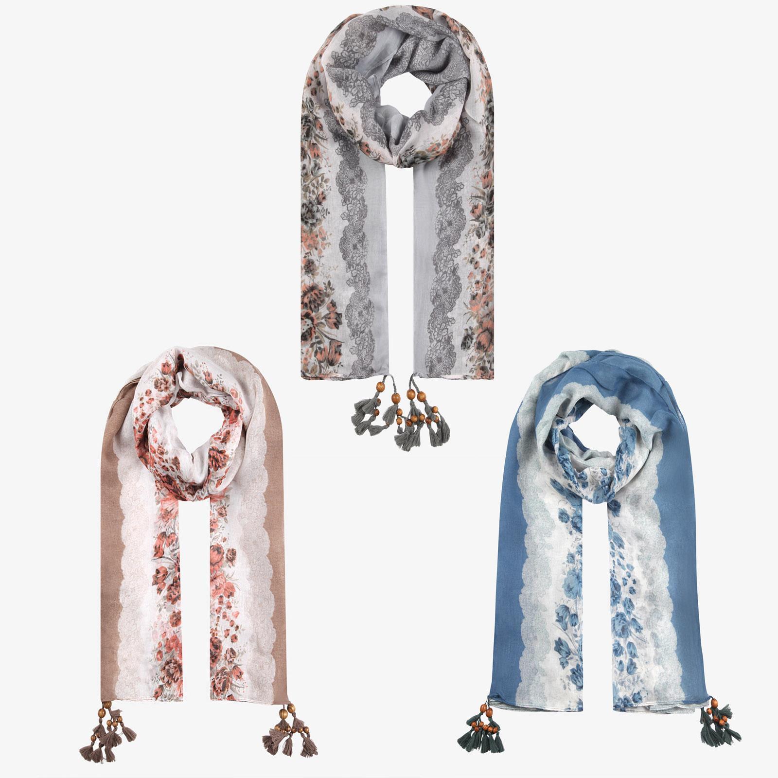 profiter de gros rabais vente au royaume uni Royaume-Uni Détails sur Foulard Femme Fleuri Floral Chic Cheveaux Solde Eté Franges  Tête Châle Solde