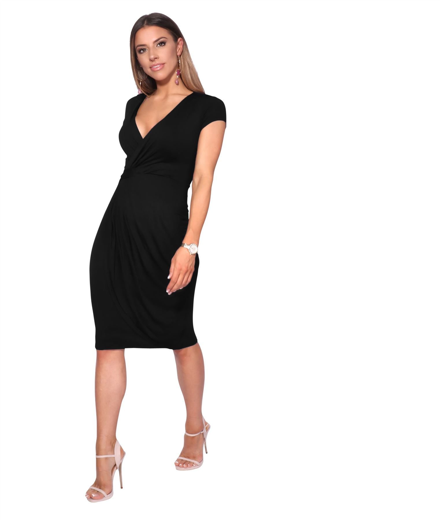 Womens-Ladies-V-Neck-Wrap-Midi-Dress-Front-Pleated-Skirt-Top-Cap-Sleeve-Party thumbnail 3