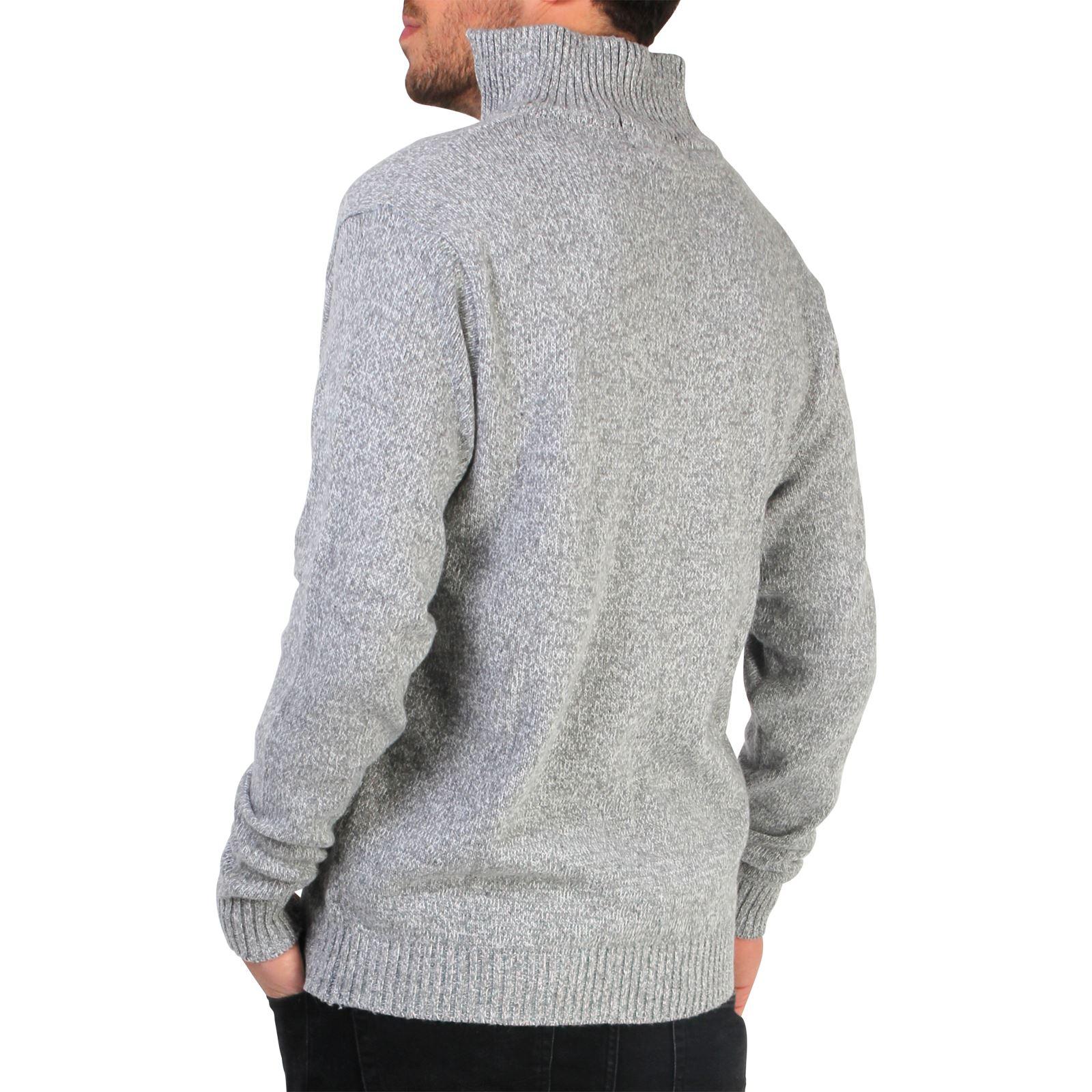 Mens-Wool-Jumper-Winter-Sweater-Zip-Up-Funnel-Neck-Soft-Knit-Cardigan-Top thumbnail 10