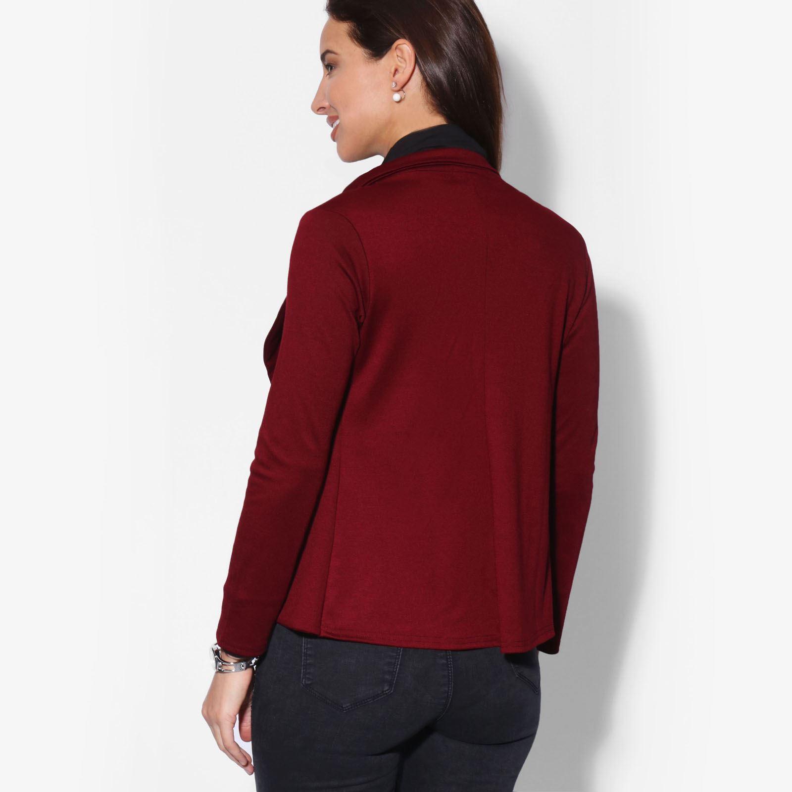 2108166cfb KRISP Womens Slim Fit Casual Smart Jersey Blazer Ladies Office ...