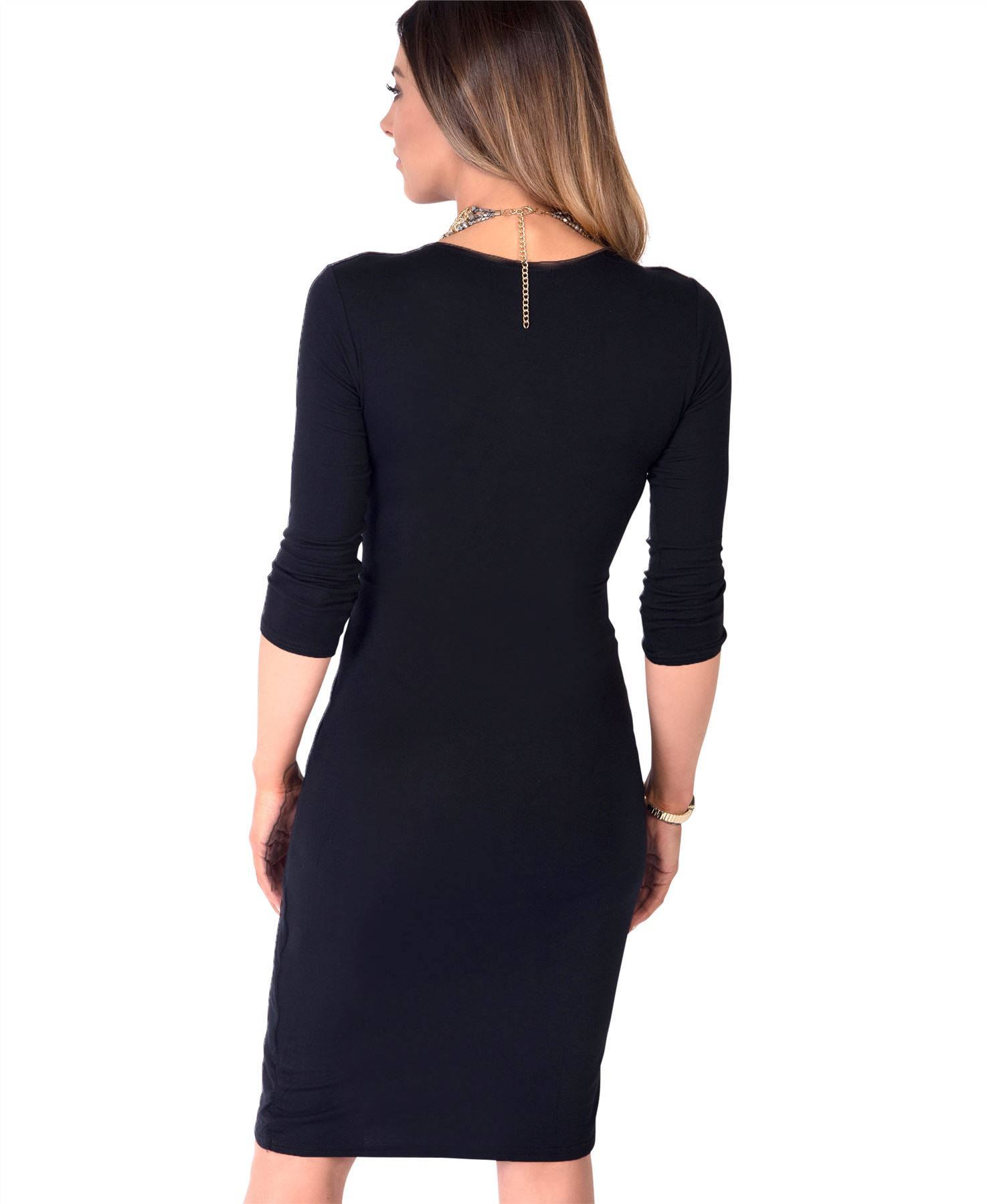 Womens-Ladies-Shift-Wrap-Dress-Midi-Knee-Long-Quarter-Sleeve-Sexy-Solid-Party thumbnail 4