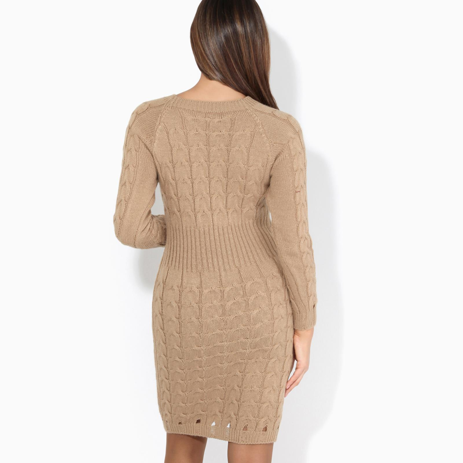 Womens-Ladies-Jumper-Dress-Longsleeve-Mini-Warm-Winter-Knit-Top-Bodycon thumbnail 10