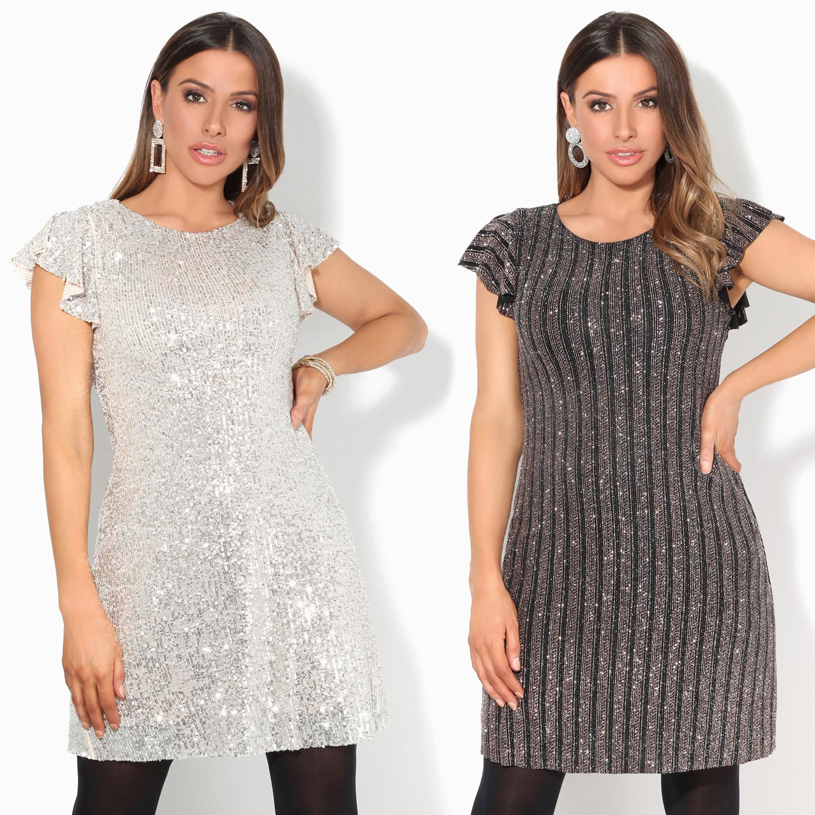 Batwing Top Polo Dress Ladies Womens LUREX GLITTER SPARKLY PARTY XMAS Bodysuit