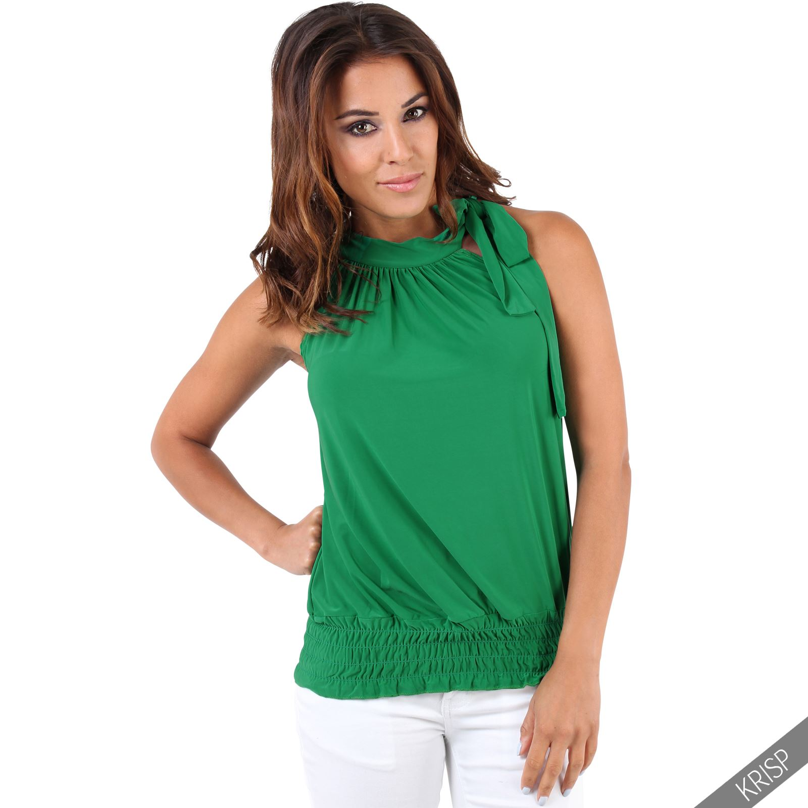 Womens-Ladies-Sleeveless-Blouse-Halter-Neck-Vest-Top-Party-T-Shirt-Plus-Size thumbnail 12