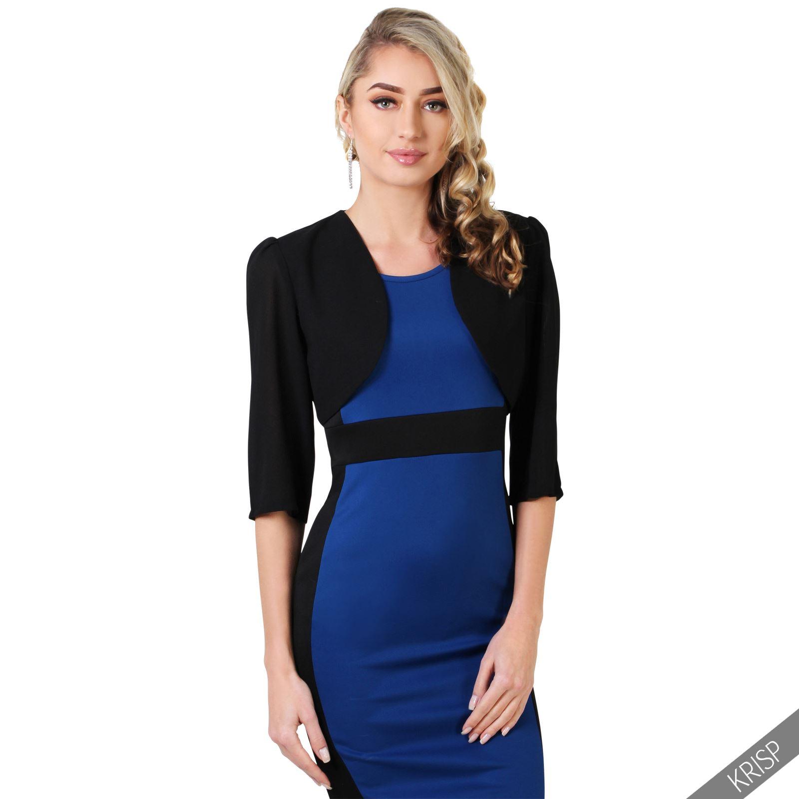 femmes veste courte bol ro blazer jacket manche 3 4 gilet cardigan cache epaule ebay. Black Bedroom Furniture Sets. Home Design Ideas