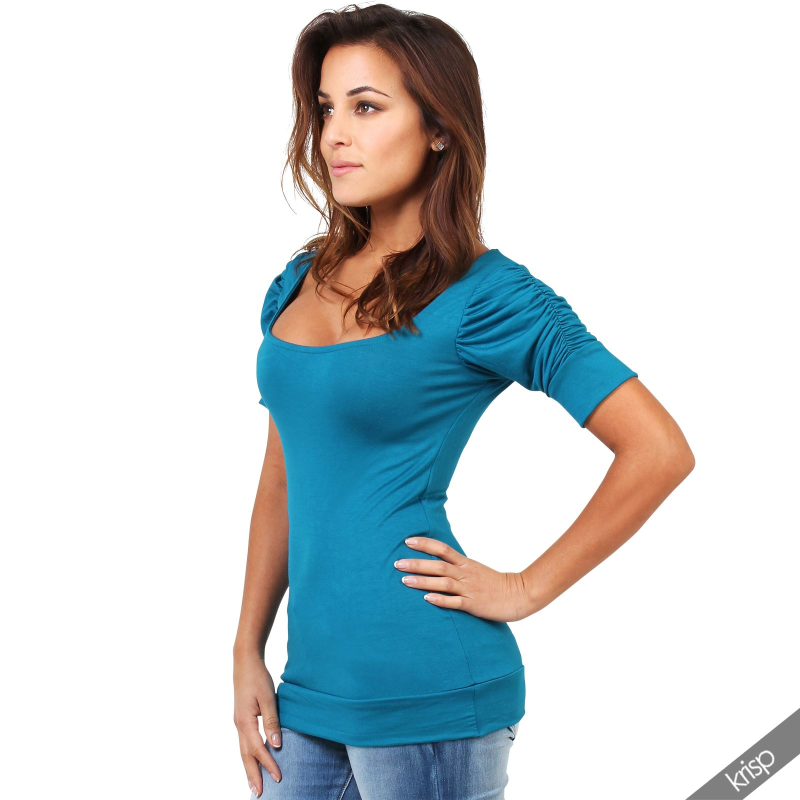 Womens ladies ruched pleated sleeve plain stretch jersey for Plain girls t shirts