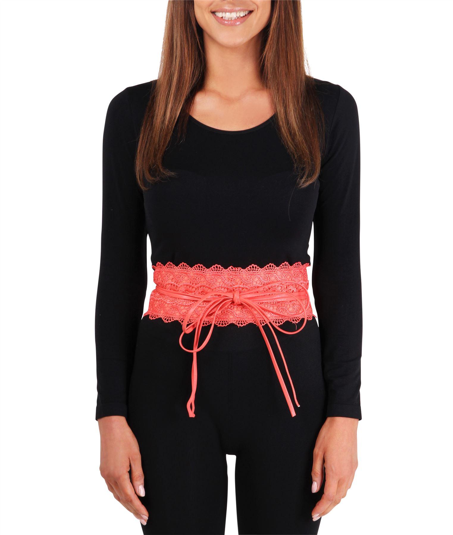 thumbnail 17 - Womens-Ladies-Wide-Waist-Belt-Floral-Waistband-Pattern-Band-Crochet-Lace-Corset