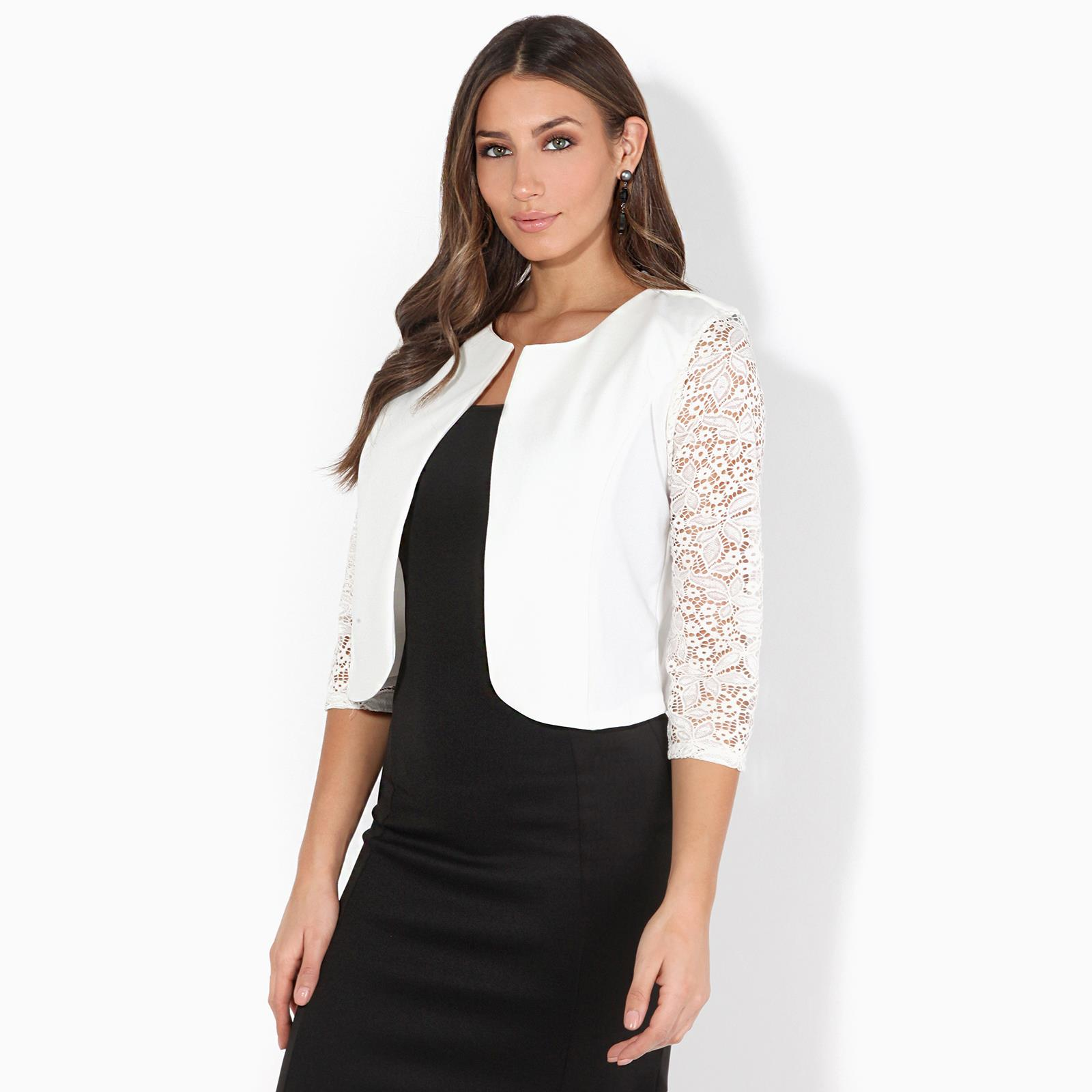 Womens-Ladies-Bolero-Shrug-Lace-Top-Short-Sleeve-Cardigan-Cropped-Evening-Jacket thumbnail 8