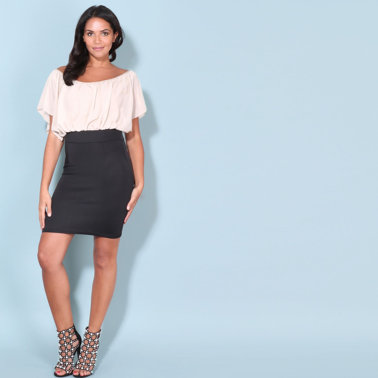 Womens-Pleated-Chiffon-Batwing-Top-High-Waist-Pencil-Bodycon-Skirt-Mini-Dress thumbnail 33