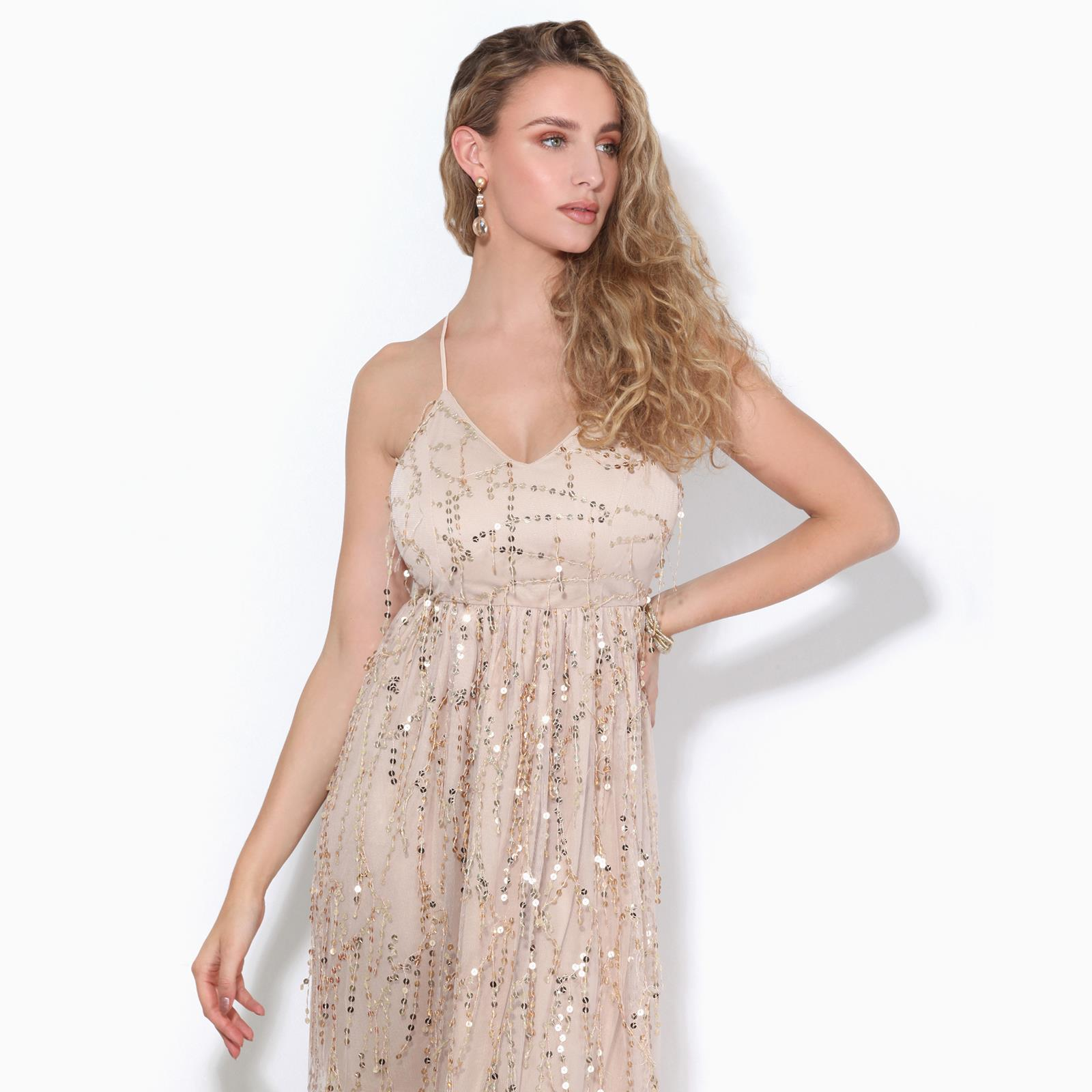 Womens-Ladies-Sequin-Dress-Midi-Party-Mesh-Fringe-Strappy-Evening-Backless thumbnail 3