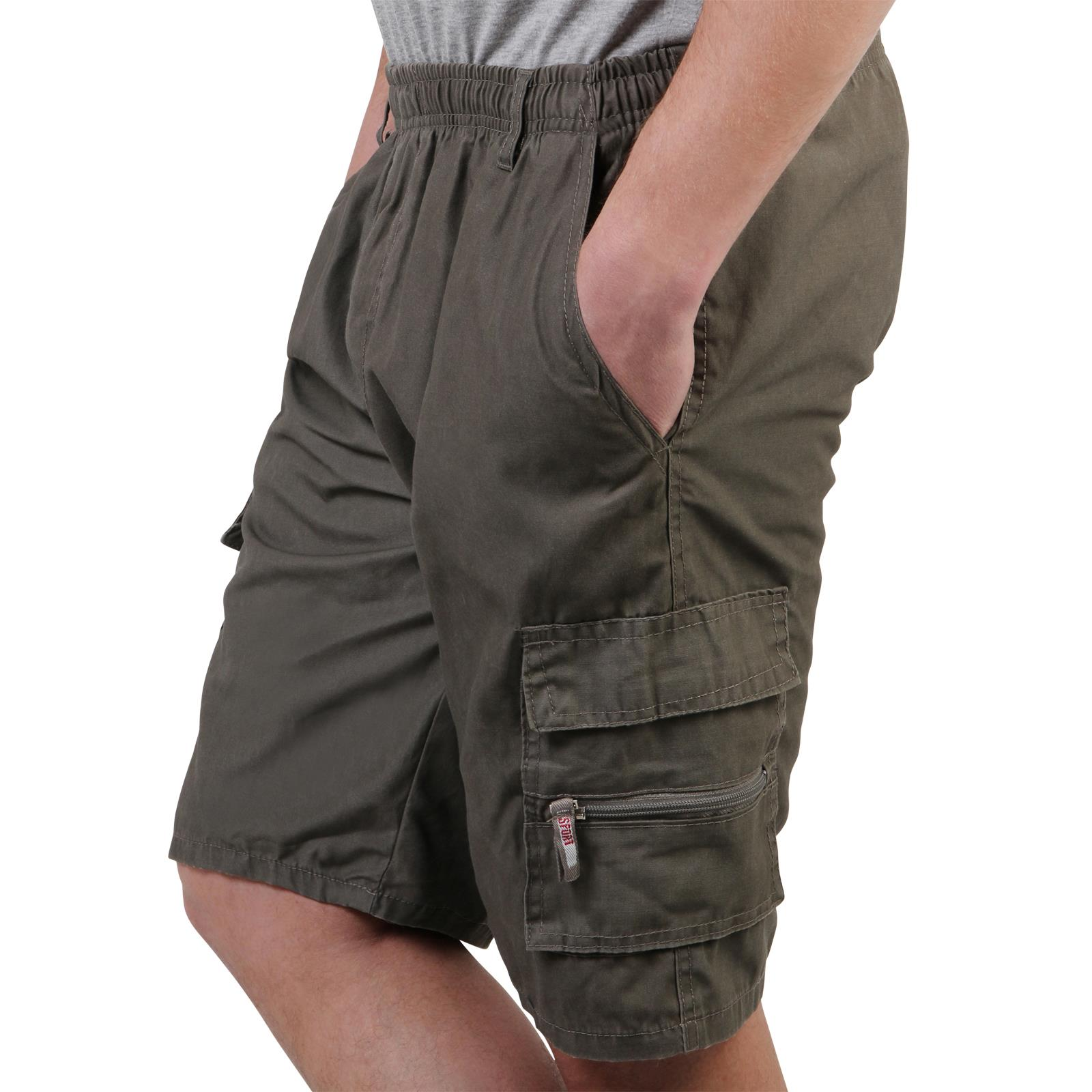 Mens-Cotton-Cargo-Shorts-Plain-Basic-Casual-Work-Chinos-Combat-Pants-Regular thumbnail 17