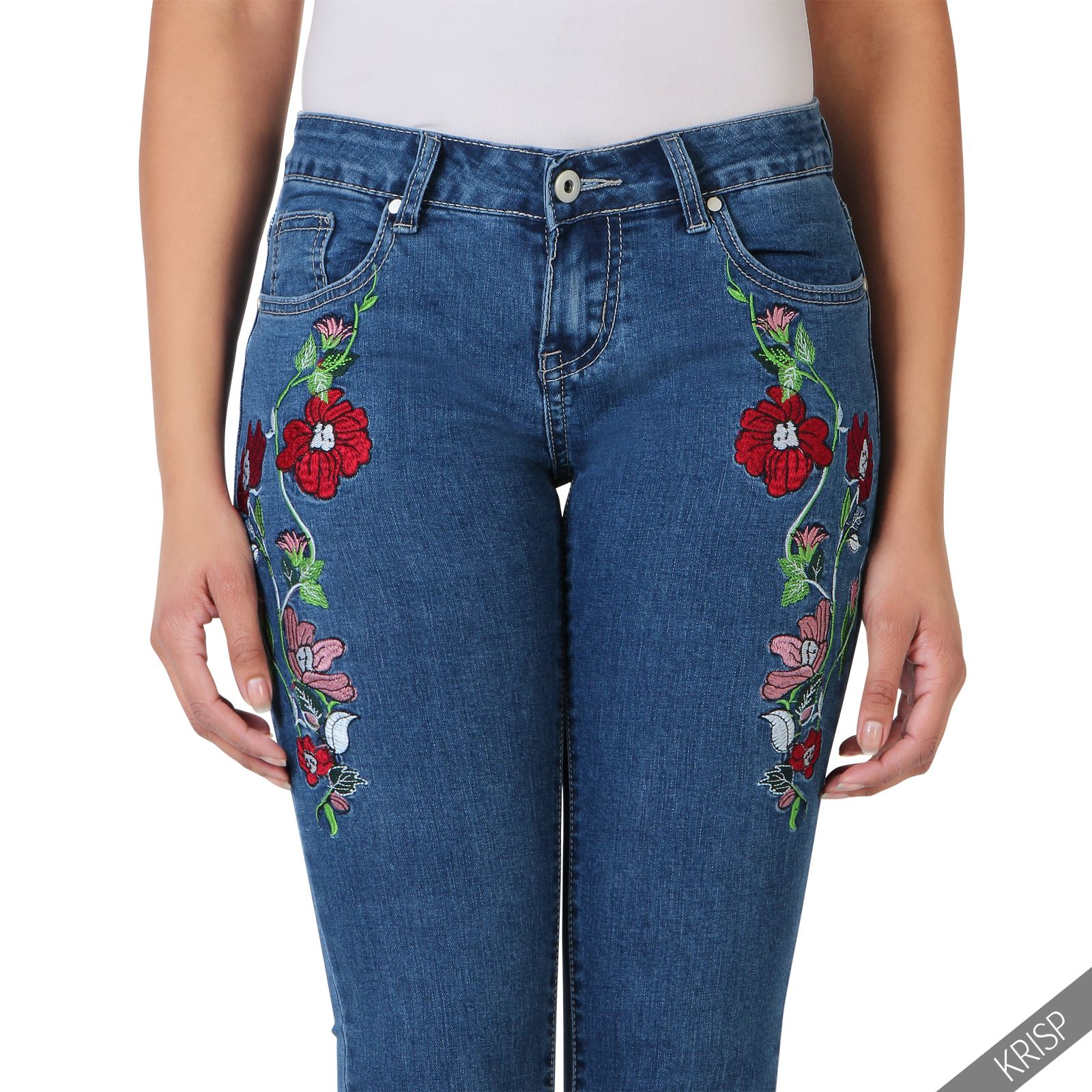 Womens vintage flower embroidered ankle grazers ladies skinny womens vintage flower embroidered ankle grazers ladies skinny ccuart Images
