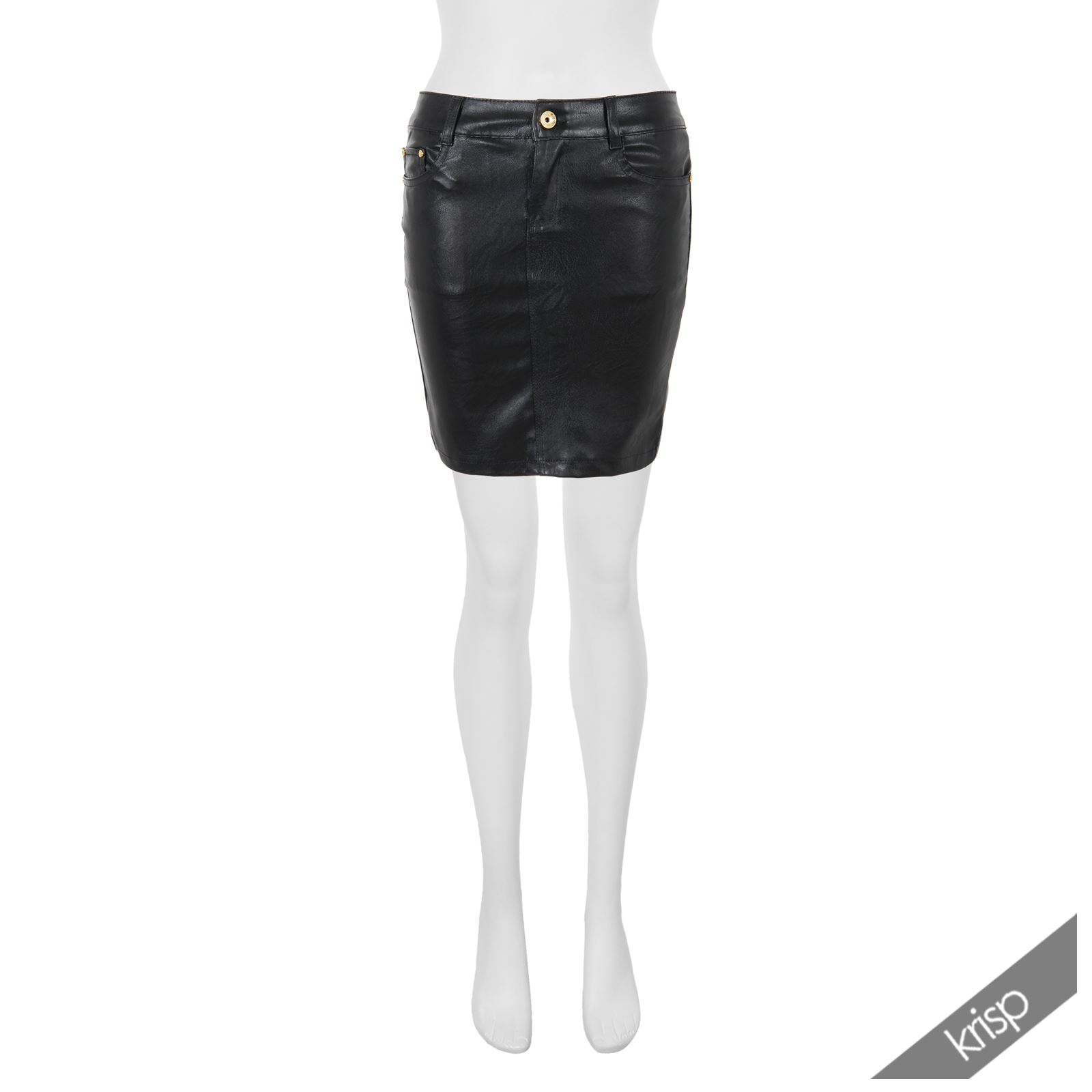 Womens-Ladies-Leather-Pencil-Skirt-Sexy-Wet-Look-Stretch-PU-Mini-Midi-Bodycon thumbnail 4