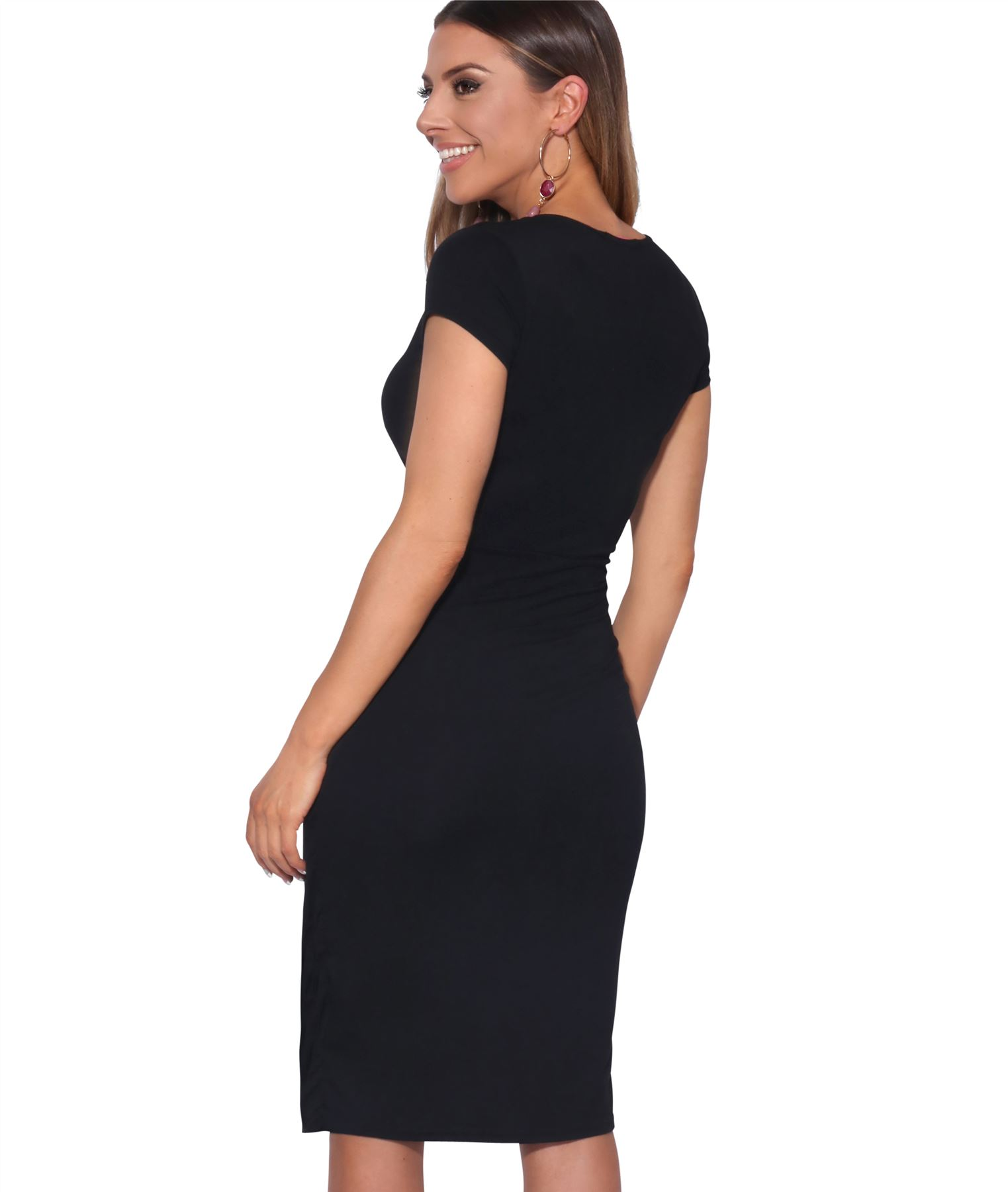 Womens-Ladies-V-Neck-Wrap-Midi-Dress-Front-Pleated-Skirt-Top-Cap-Sleeve-Party thumbnail 4