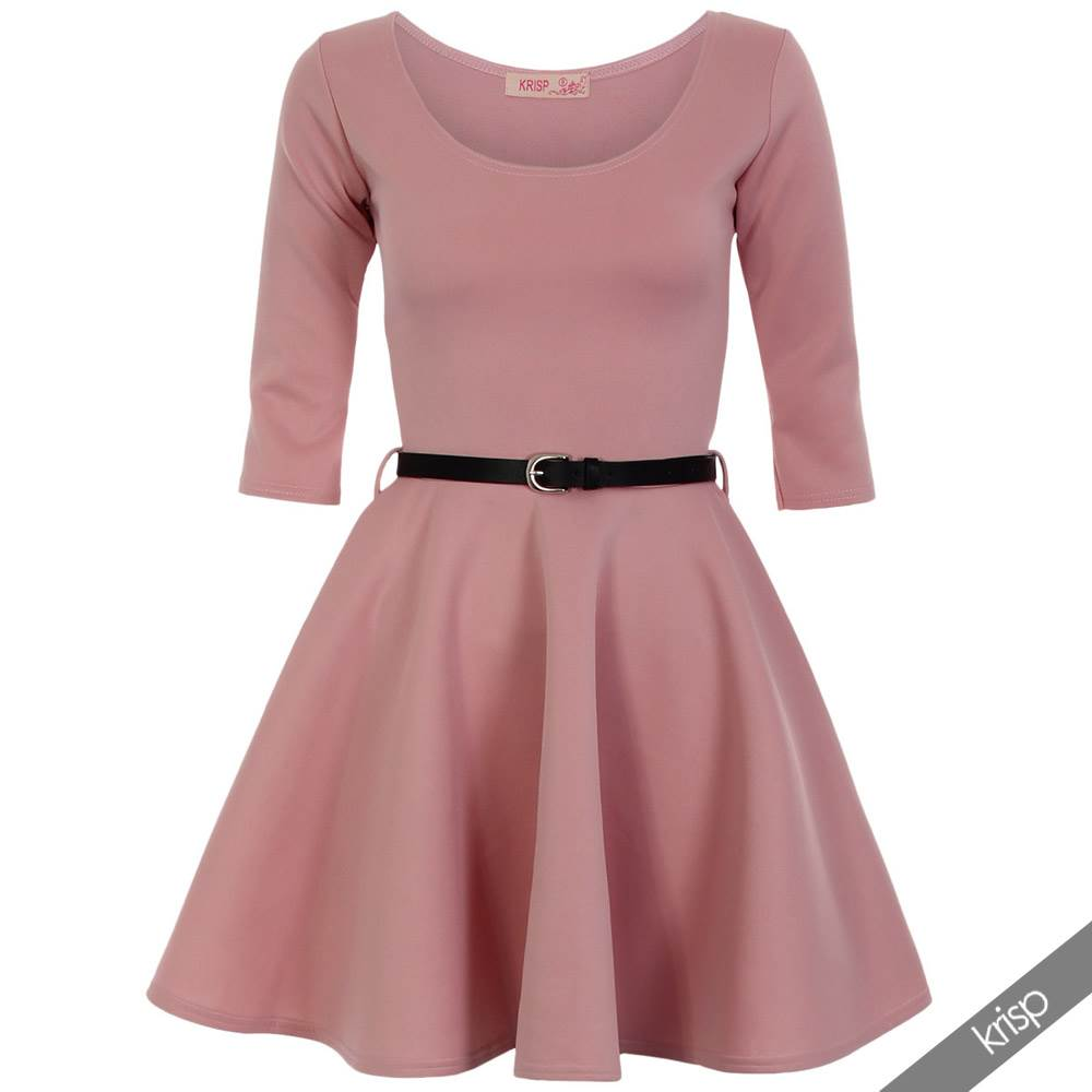 Womens-Classic-Pleated-Flared-Skater-Dress-3-4-Sleeve-Mini-Belted-Evening-Party