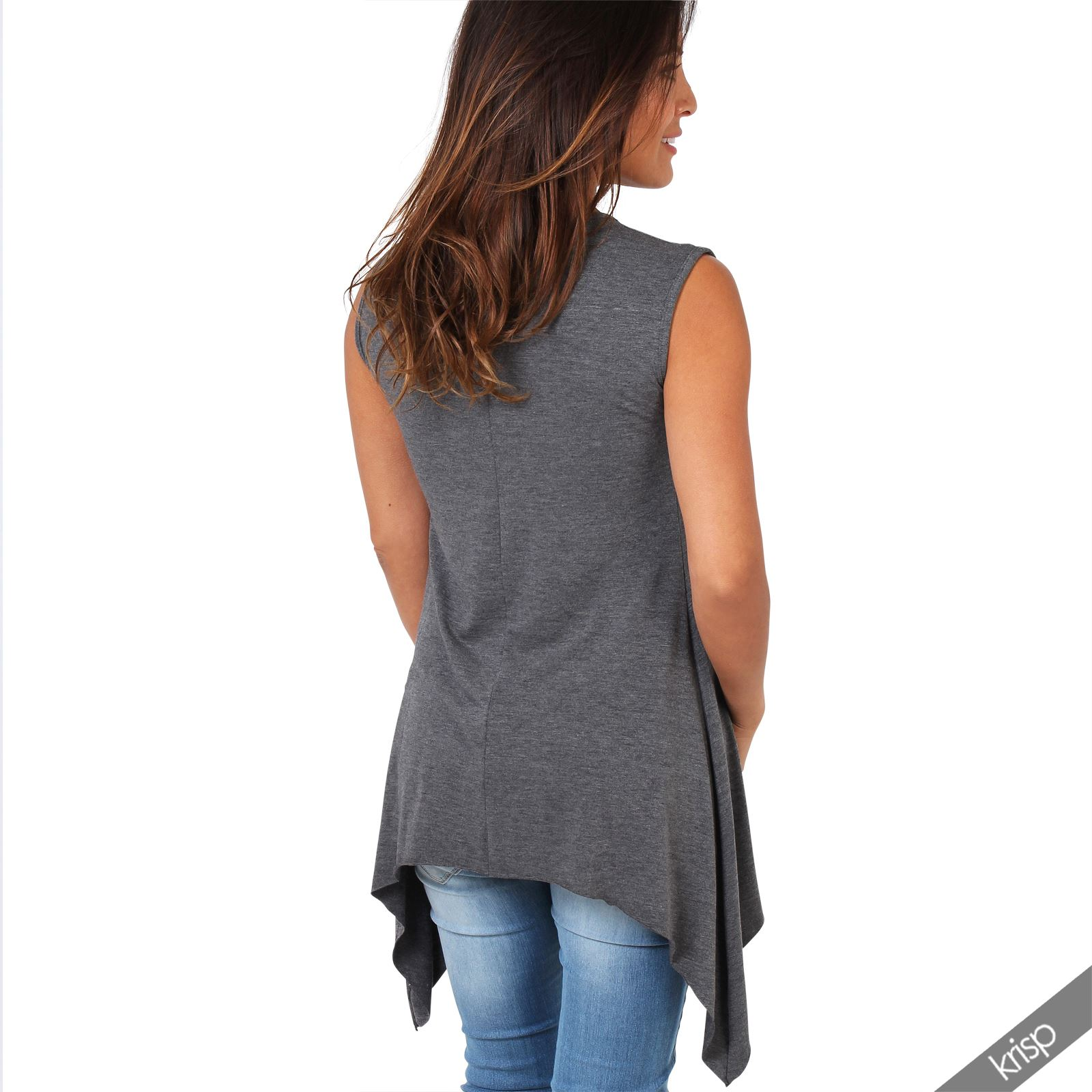Women-Long-Top-Sleeveless-Pleated-Tee-Shirt-Tunic-Jersey-Stretch-Loose-Fit thumbnail 8