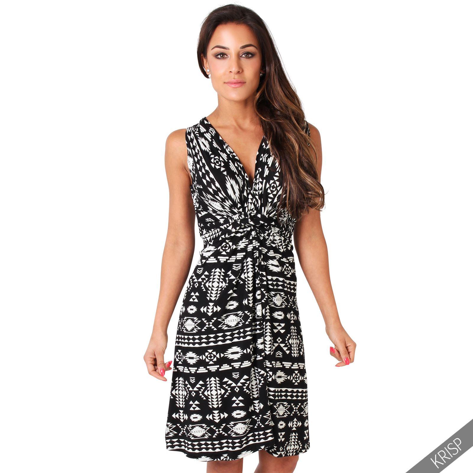 Womens-V-Neck-Mini-Dress-Small-Sizes-Short-Skirt-Tribal-Print-Front-Knot-Party thumbnail 6